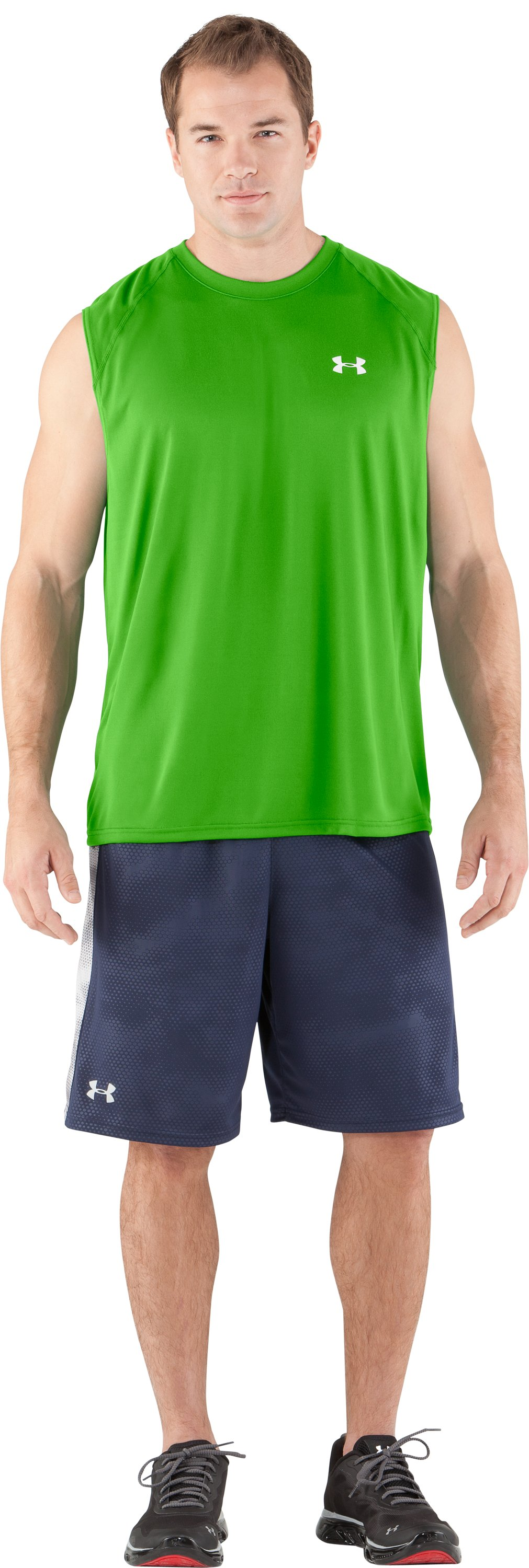 Men's UA Tech™ Sleeveless T-Shirt, PARROT GREEN, Front