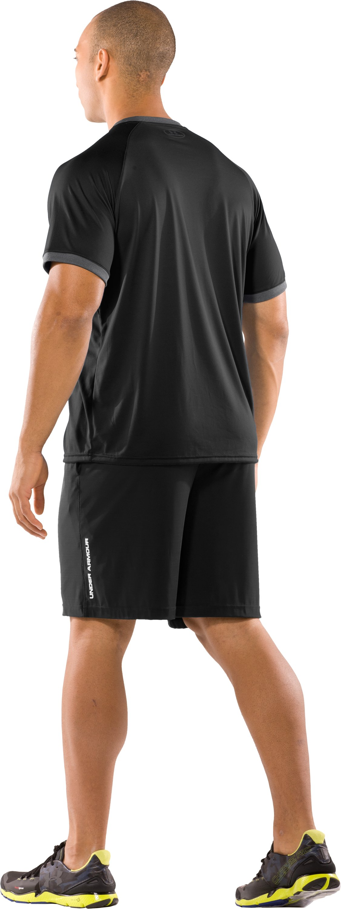 Men's UA Tech™ Short Sleeve Ringer T-Shirt, Black , Back