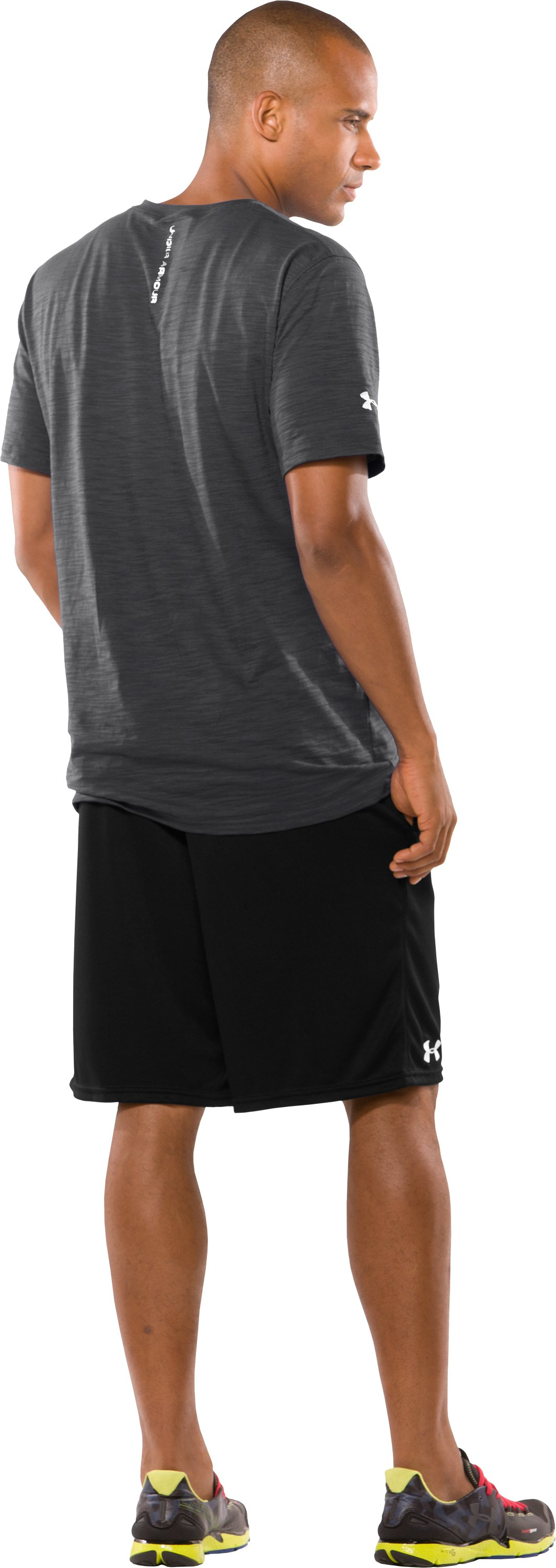 Men's Charged Cotton® Slub V-Neck T-Shirt, Graphite, Back