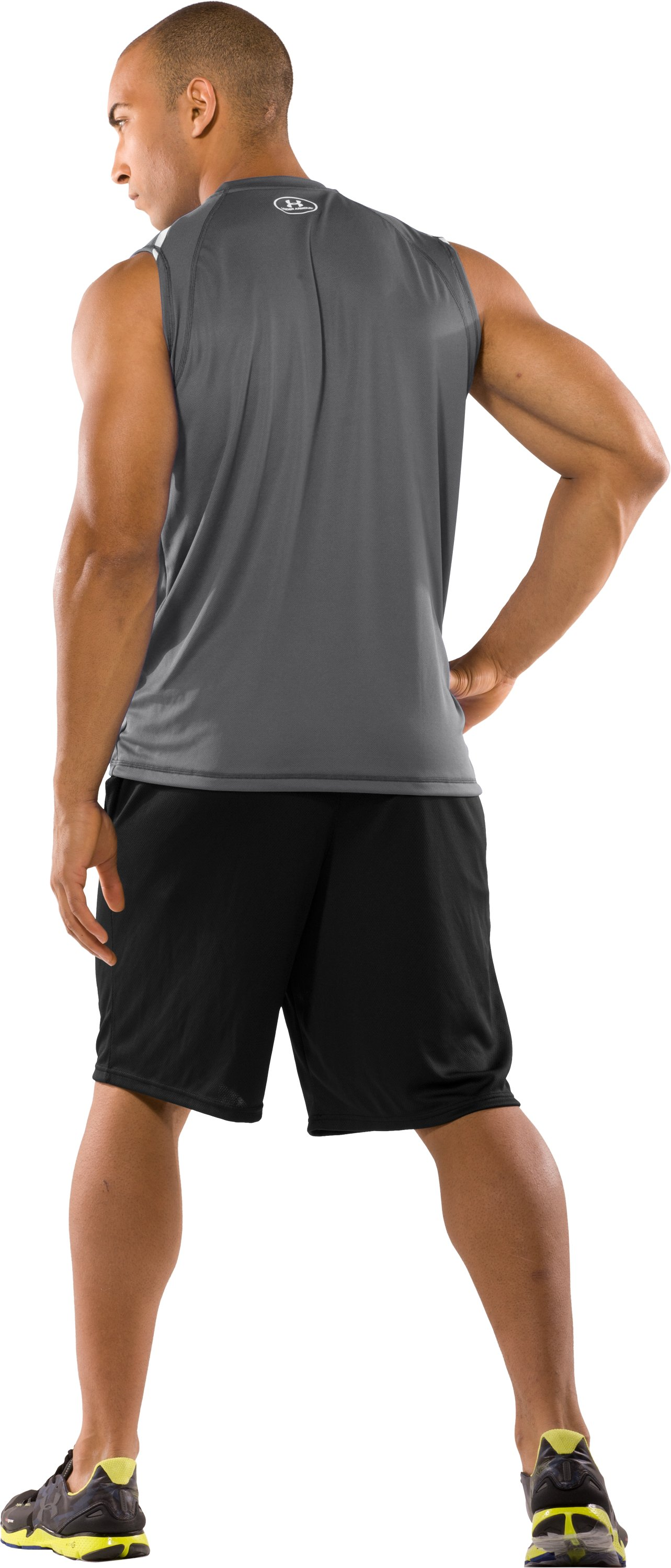 Men's UA Zone IV Sleeveless T-Shirt, Graphite, Back