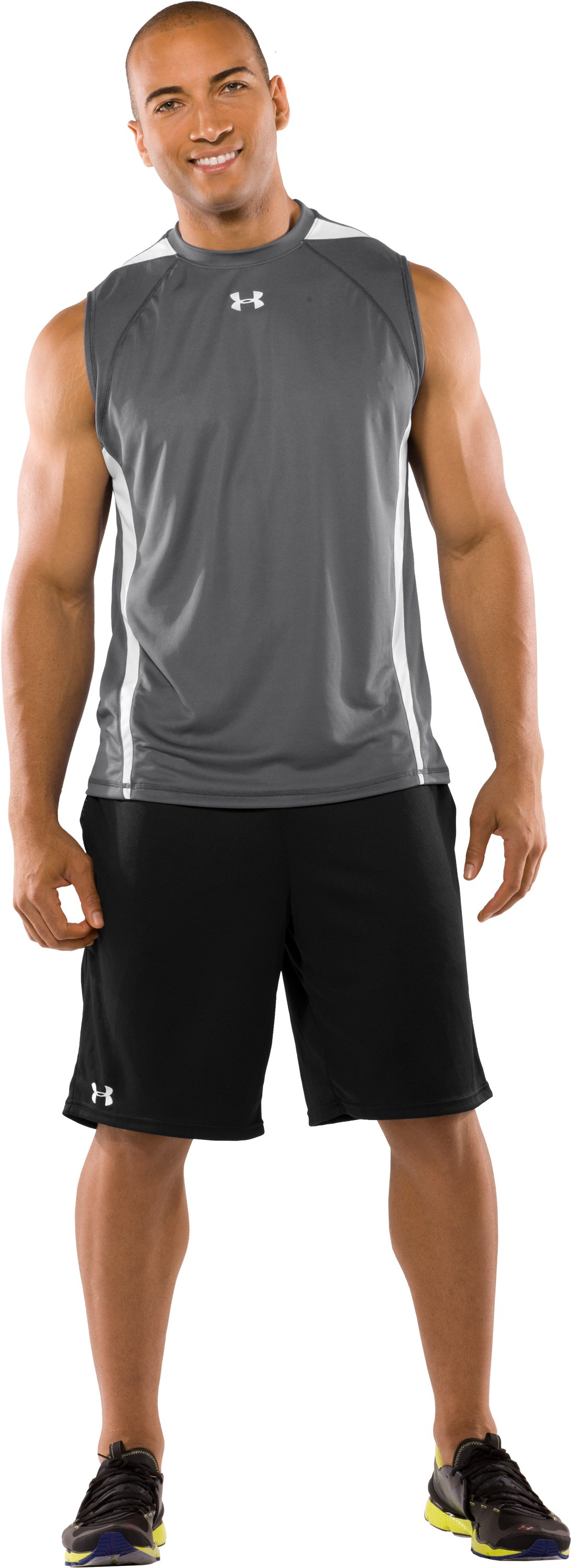 Men's UA Zone IV Sleeveless T-Shirt, Graphite, Front