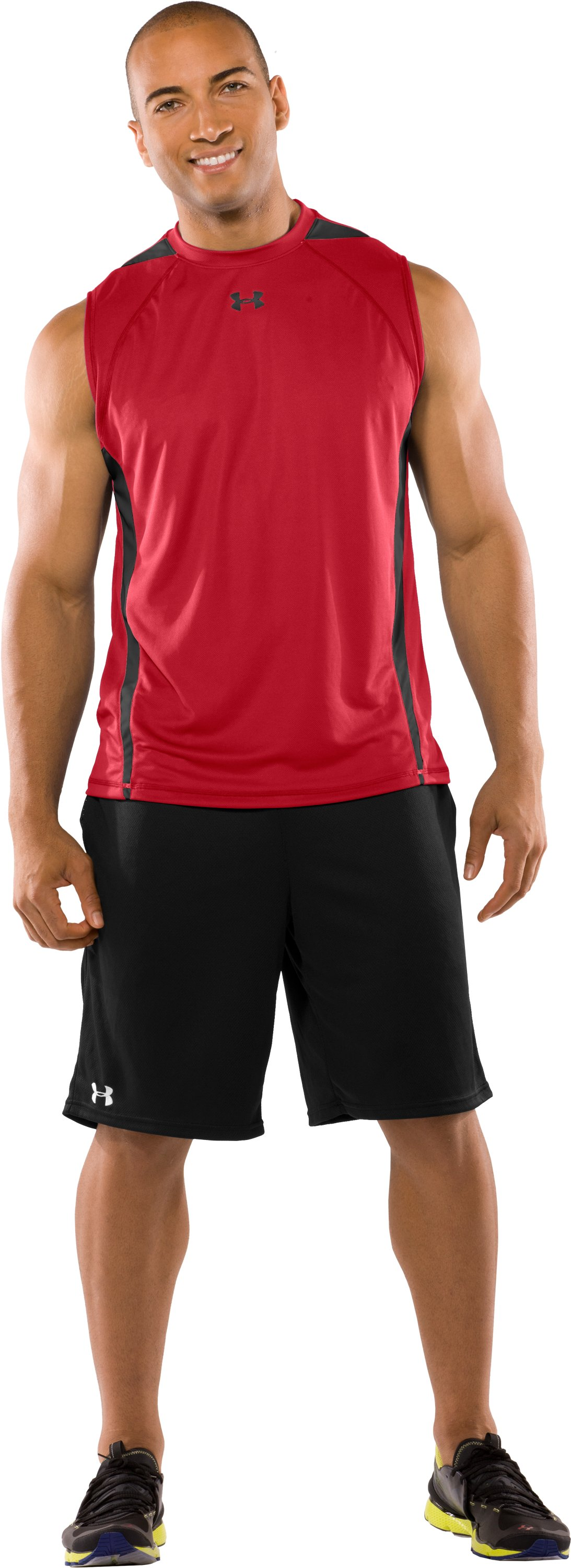 Men's UA Zone IV Sleeveless T-Shirt, Red, Front