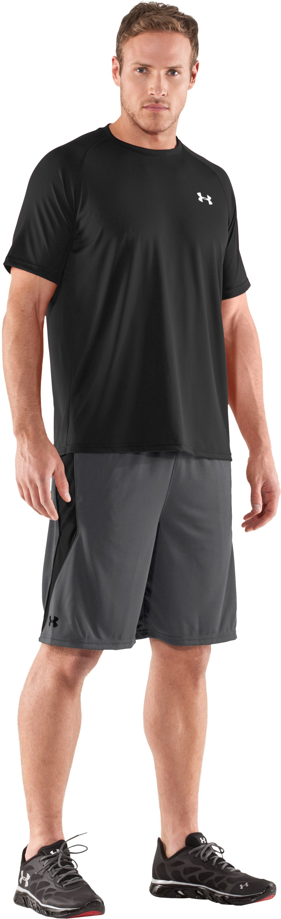 "Men's UA Multiplier 10"" Shorts, Graphite, Front"