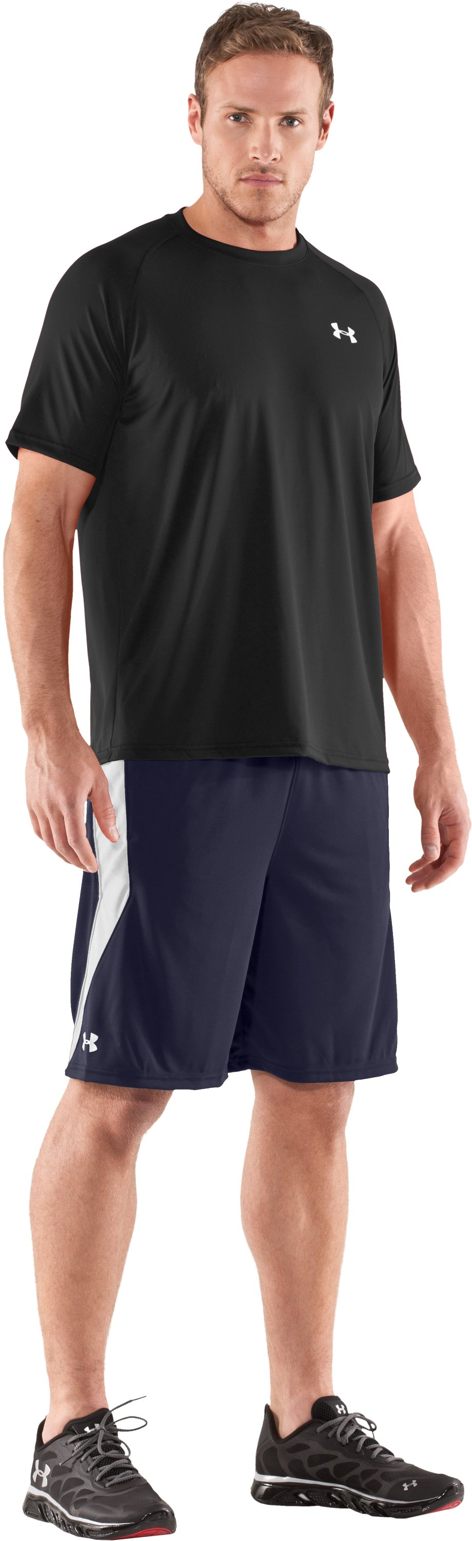 "Men's UA Multiplier 10"" Shorts, Midnight Navy, Front"
