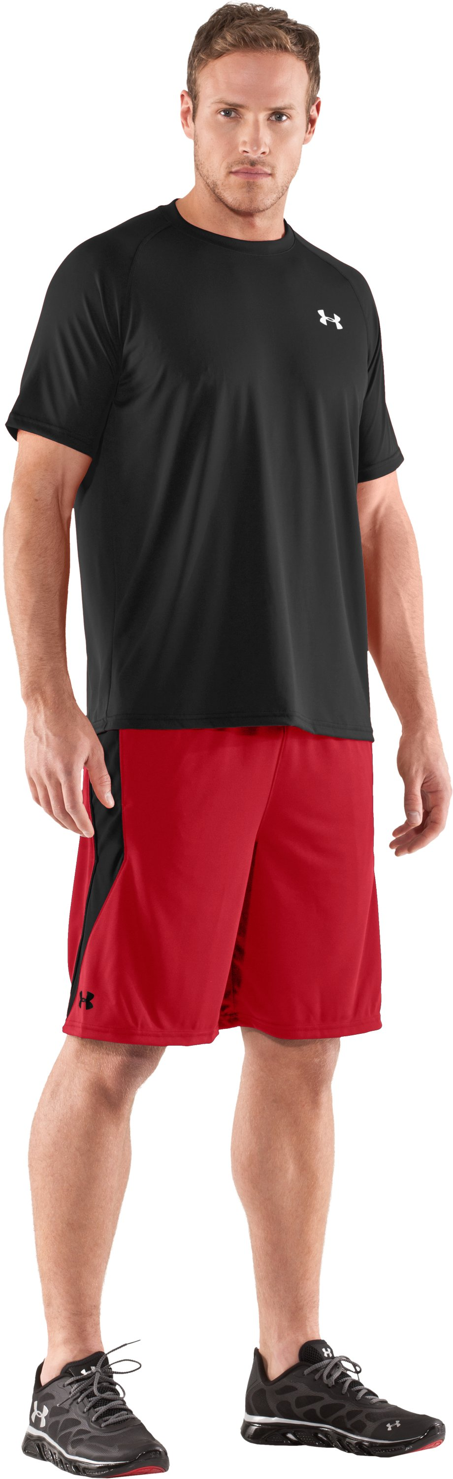 "Men's UA Multiplier 10"" Shorts, Red, Front"