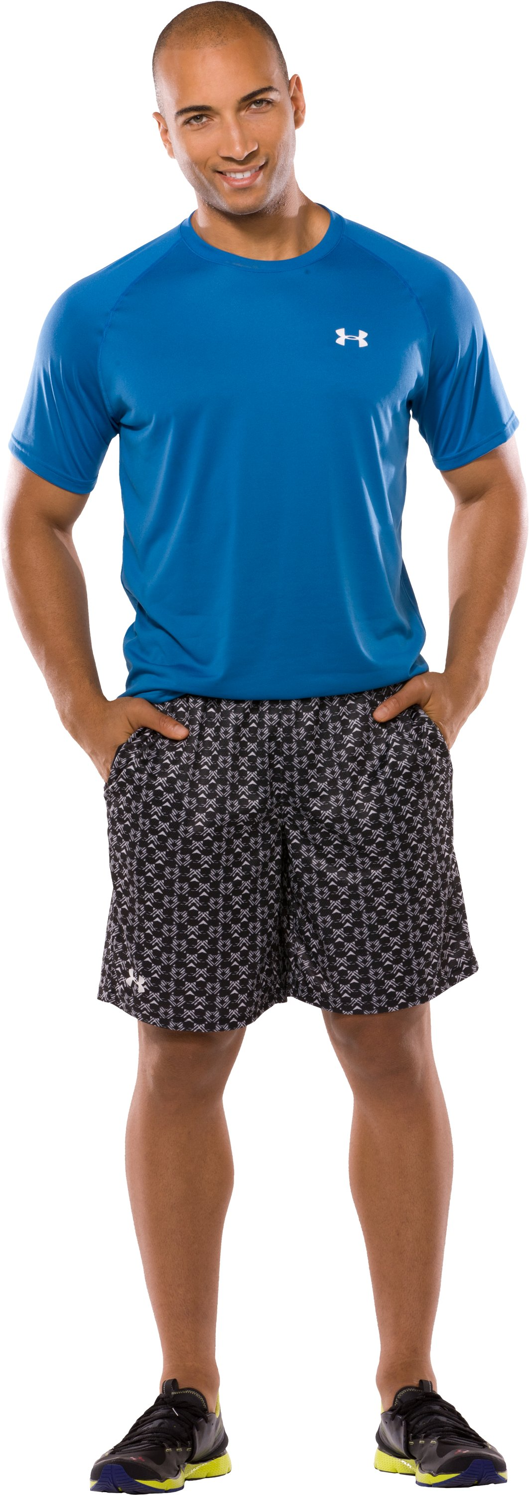 "Men's UA Flex Printed 10"" Shorts, Black , Front"