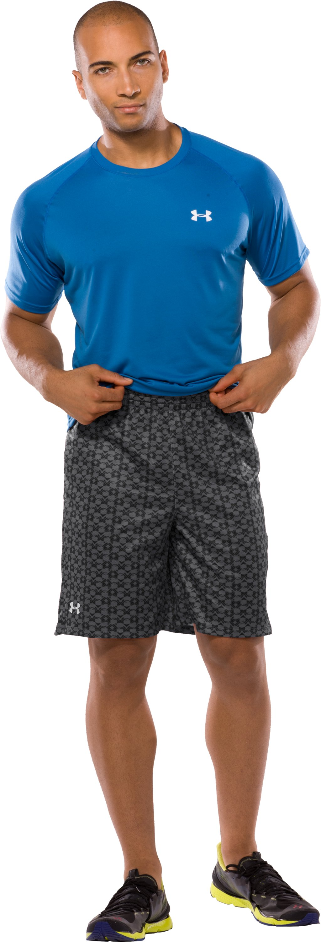 "Men's UA Flex Printed 10"" Shorts, Graphite, Front"