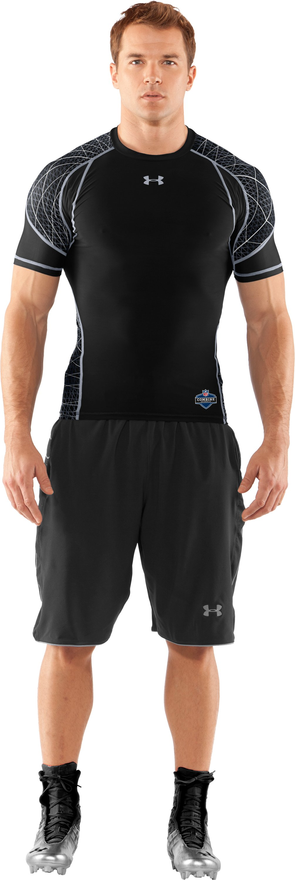 Men's NFL Combine Authentic Warp Speed Short Sleeve, Black , Front