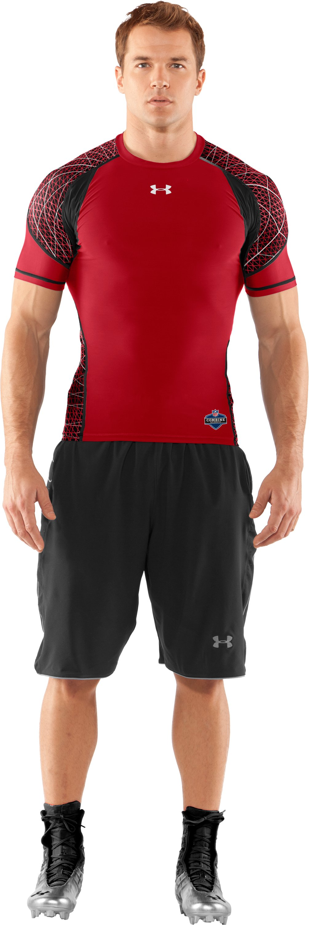 Men's NFL Combine Authentic Warp Speed Short Sleeve, Red, Front