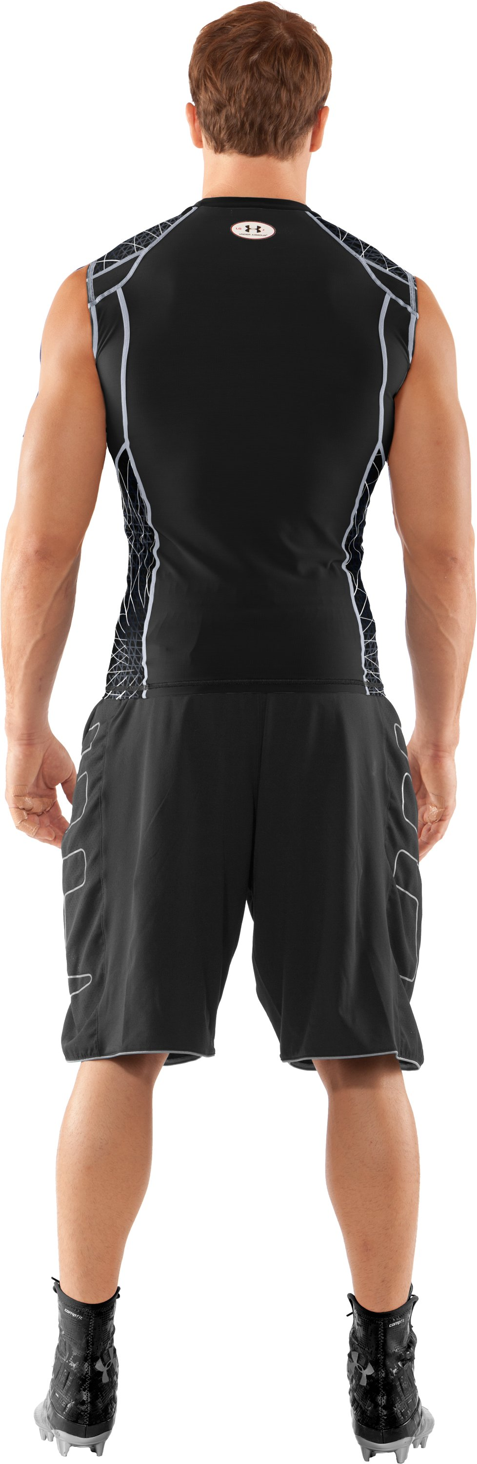 Men's UA Warp Speed Sleeveless Shirt, Black , Back