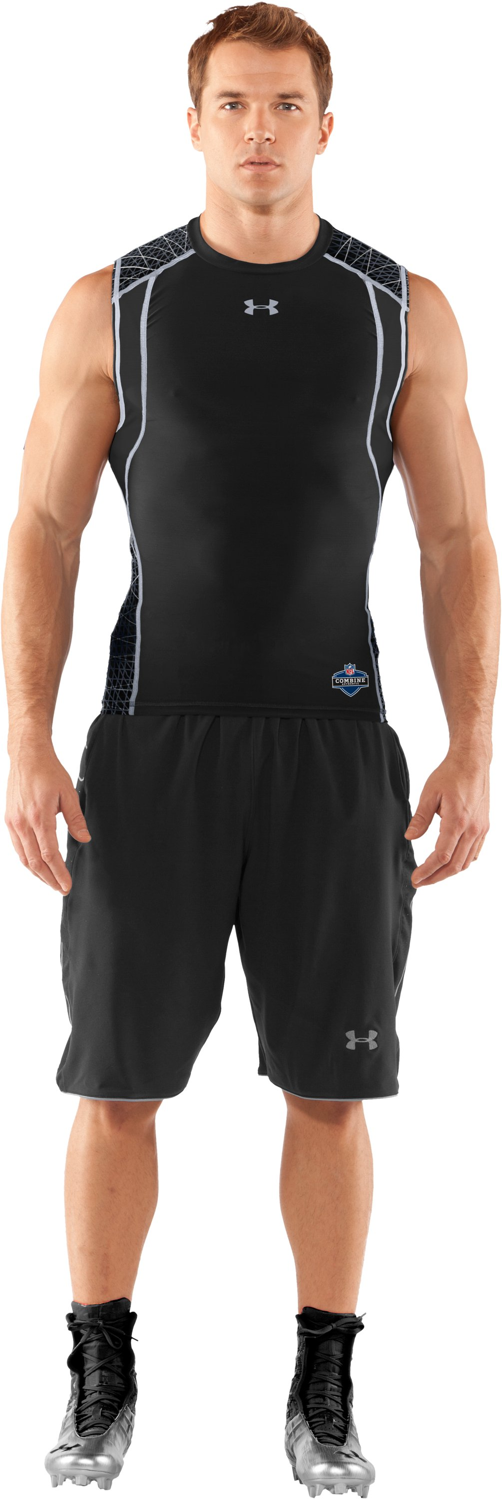 Men's UA Warp Speed Sleeveless Shirt, Black , Front