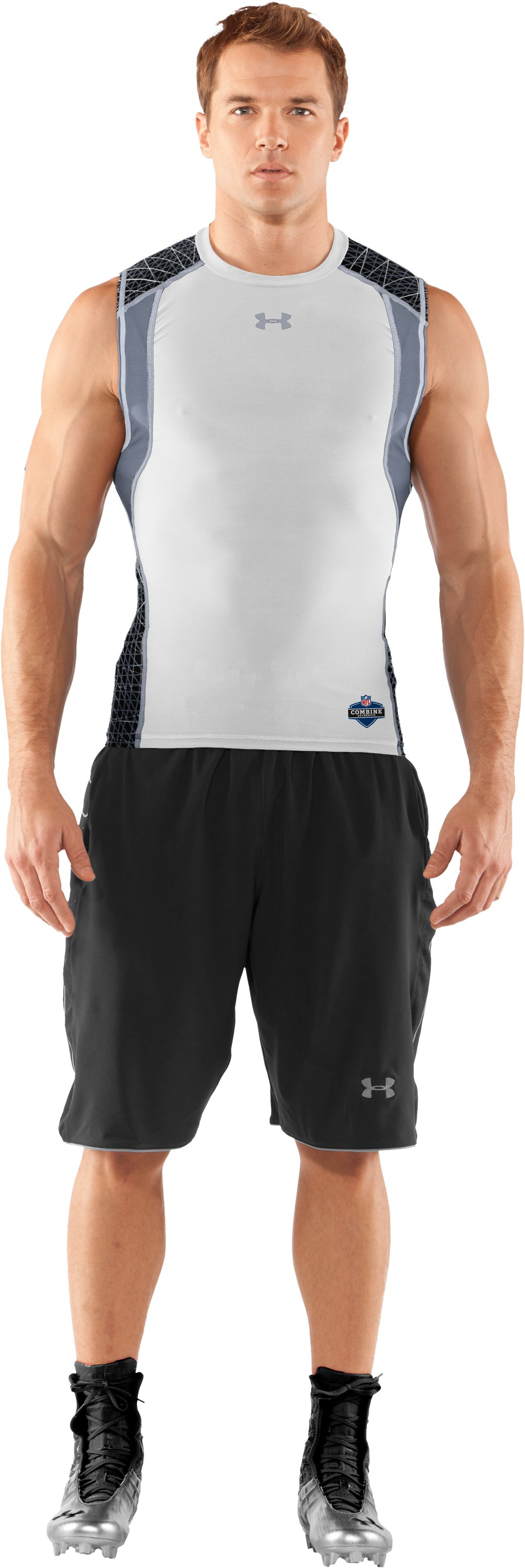 Men's UA Warp Speed Sleeveless Shirt, White, Front