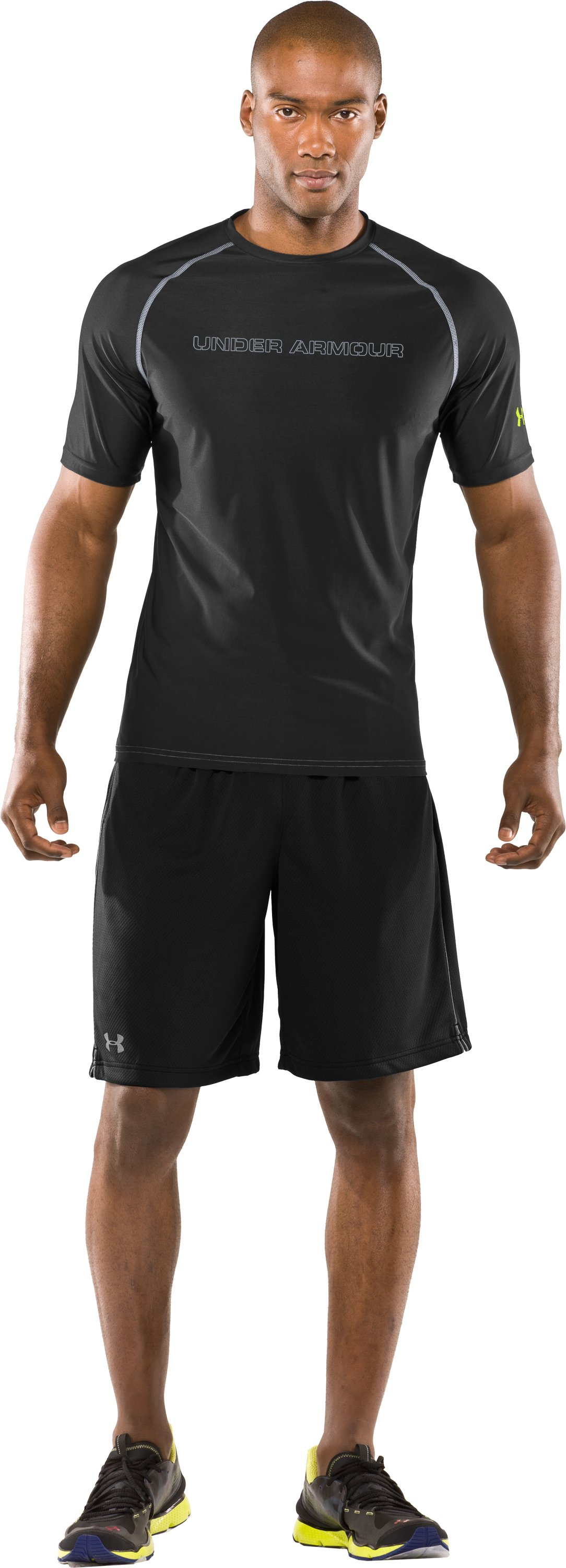 Men's Fitted UA Catalyst HeatGear® Short Sleeve, Black , Front