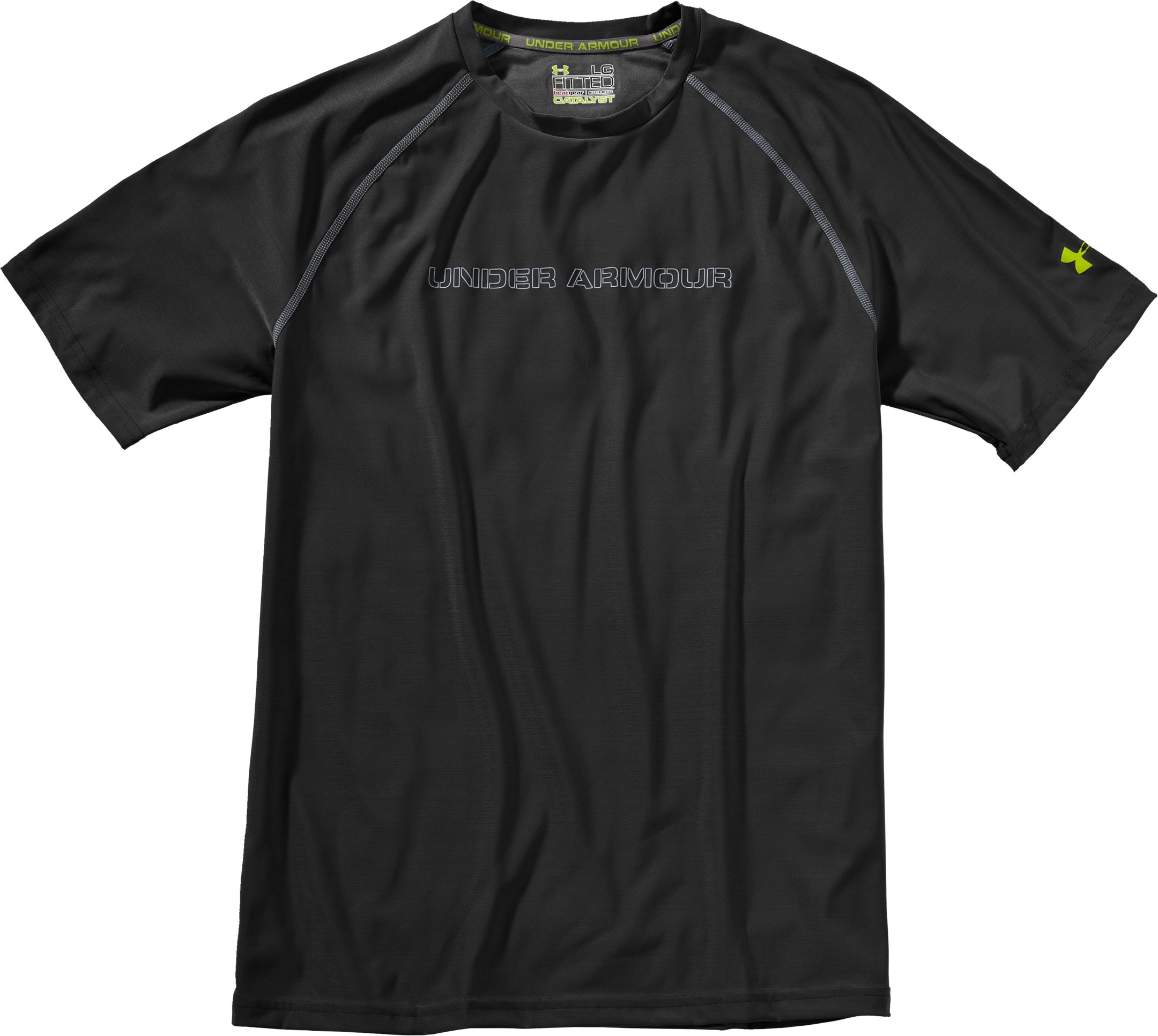 Men's Fitted UA Catalyst HeatGear® Short Sleeve, Black , Laydown