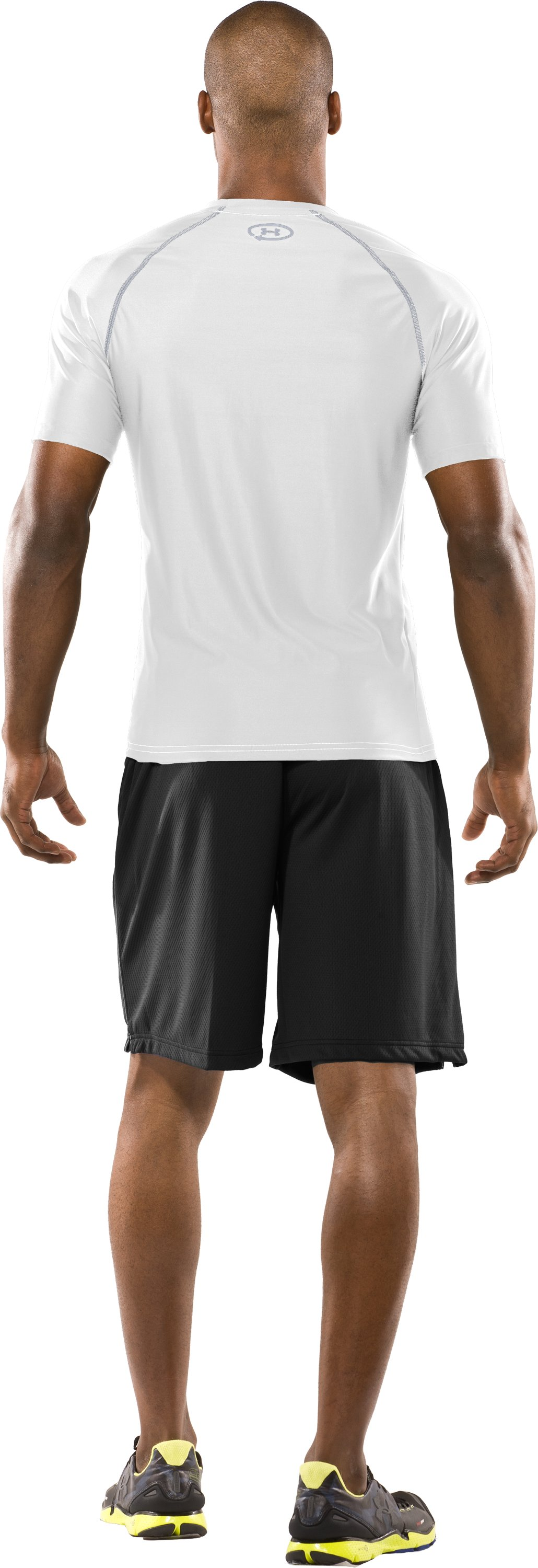Men's Fitted UA Catalyst HeatGear® Short Sleeve, White, Back