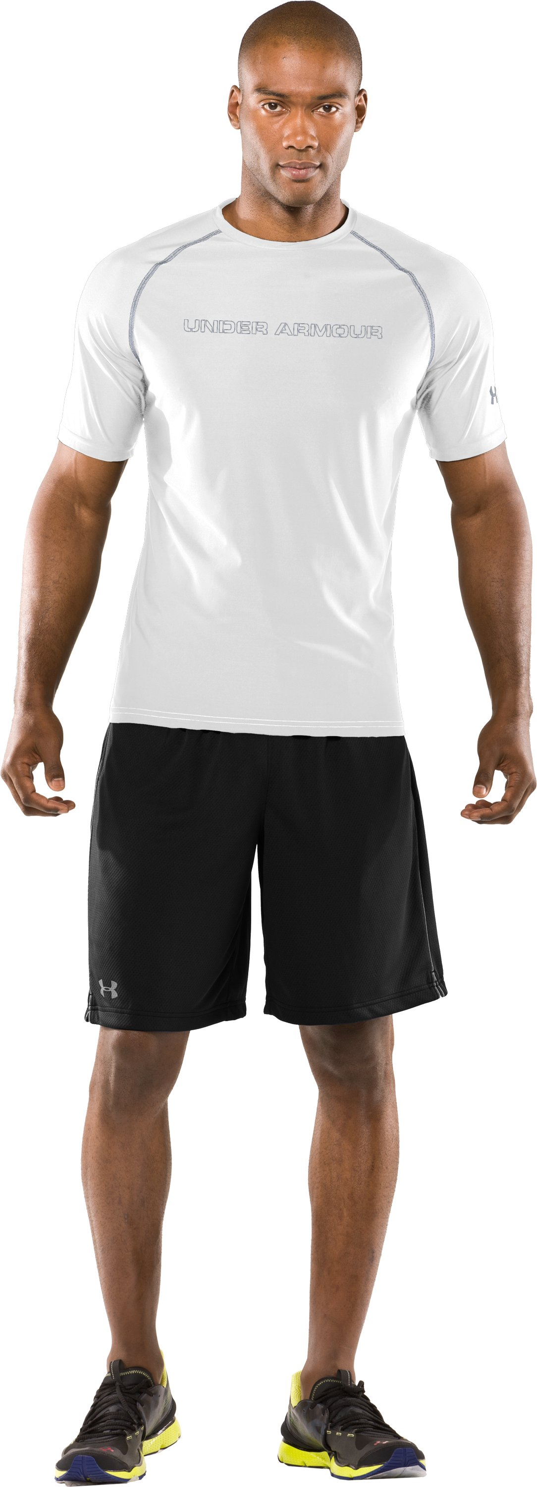 Men's Fitted UA Catalyst HeatGear® Short Sleeve, White, Front