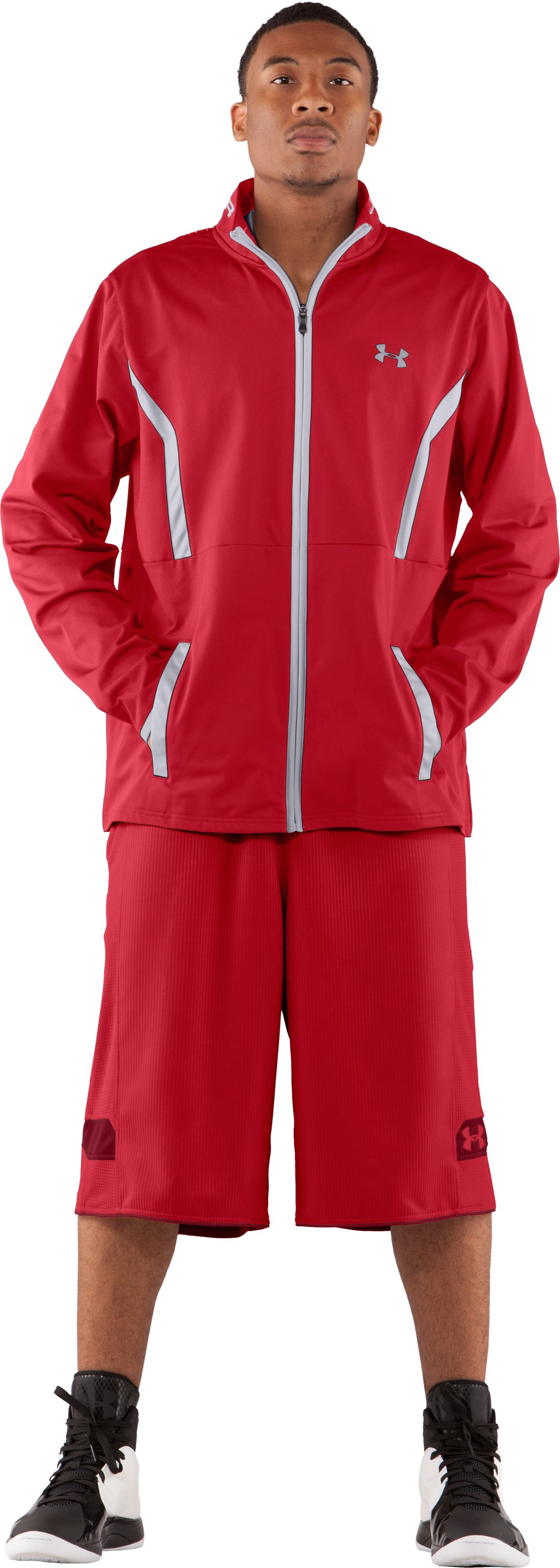 Men's UA Performance Warm-Up Jacket, Red, Front