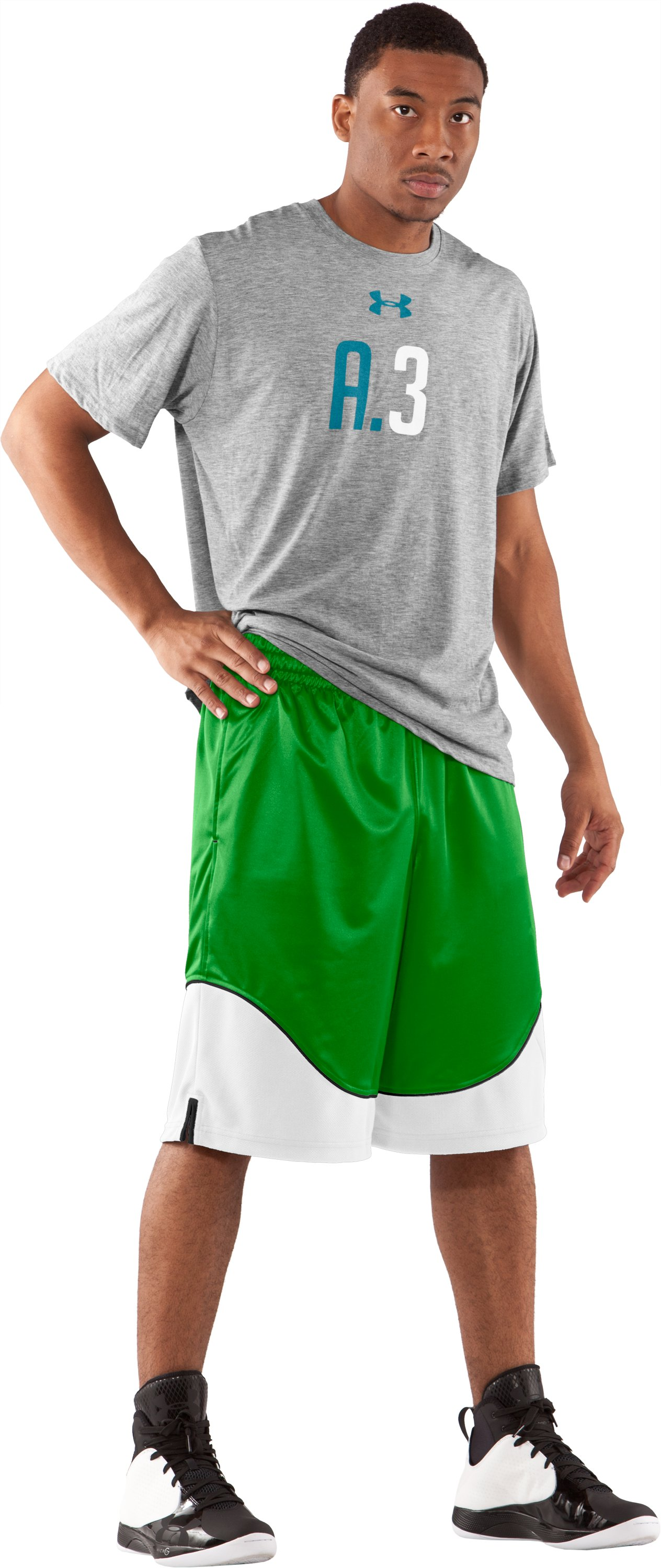 "Men's UA Nonstop 12"" Basketball Shorts, Tree Frog, Front"
