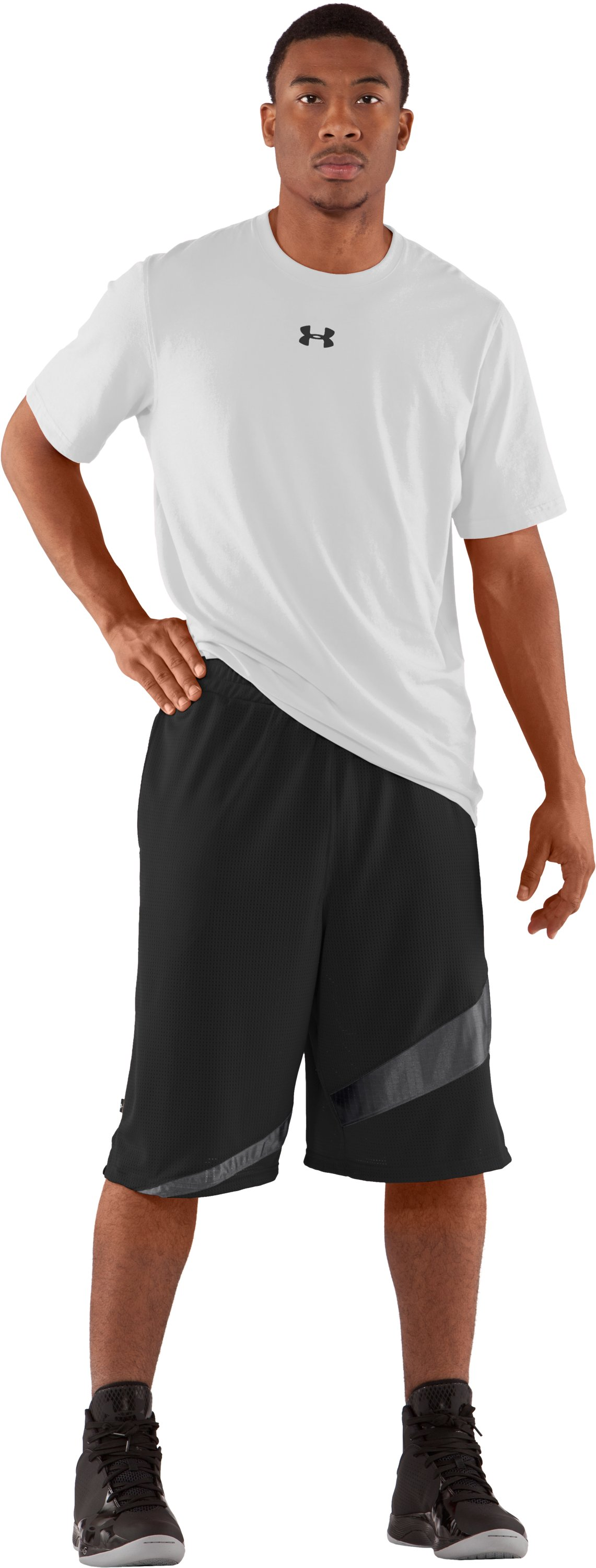 "Men's UA Floor General 12"" Basketball Shorts, Black , Front"
