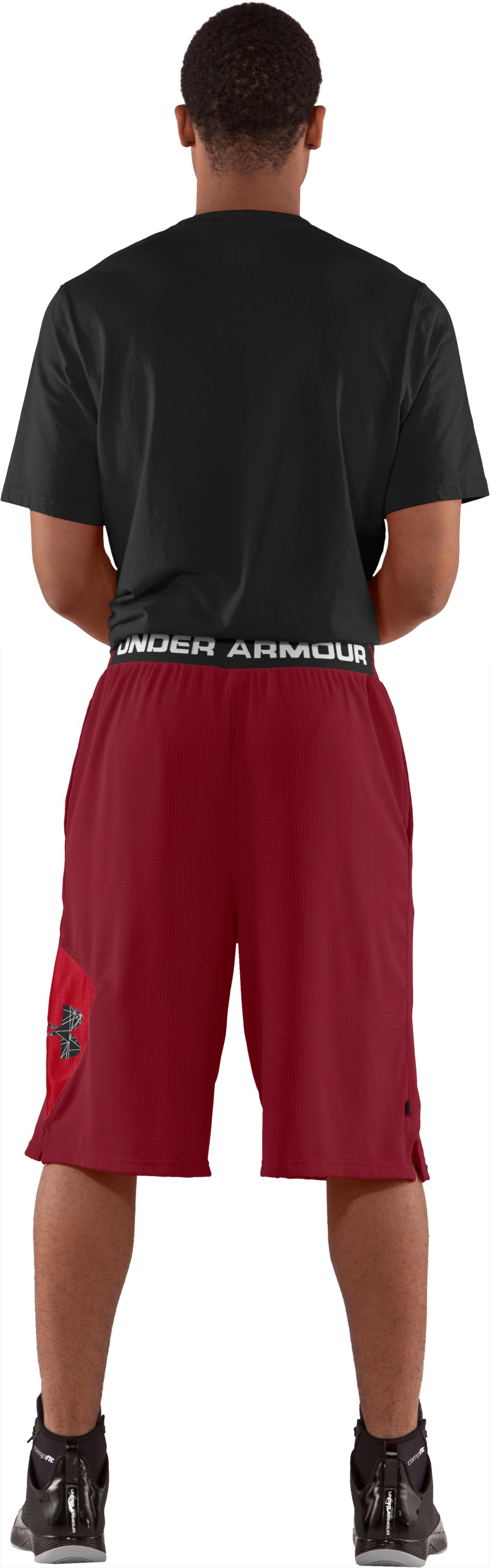 "Men's UA Floor General 12"" Basketball Shorts, Crimson, Back"