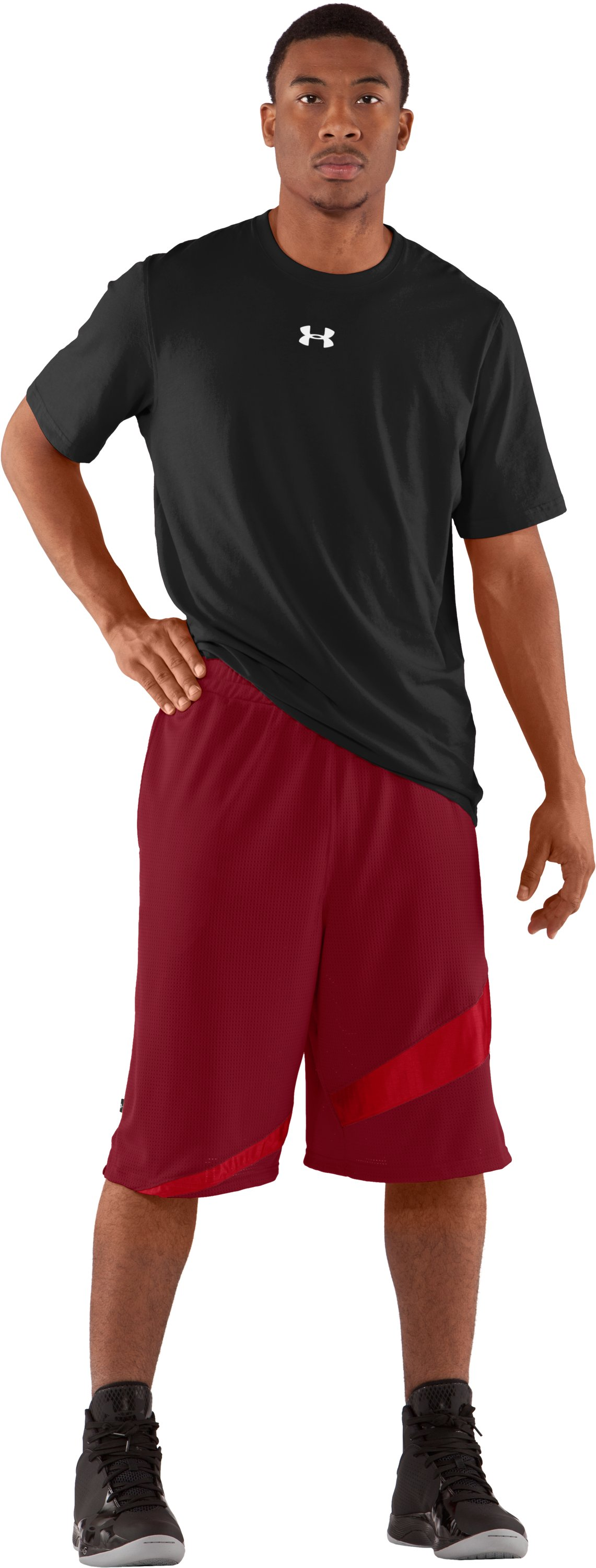 "Men's UA Floor General 12"" Basketball Shorts, Crimson, Front"