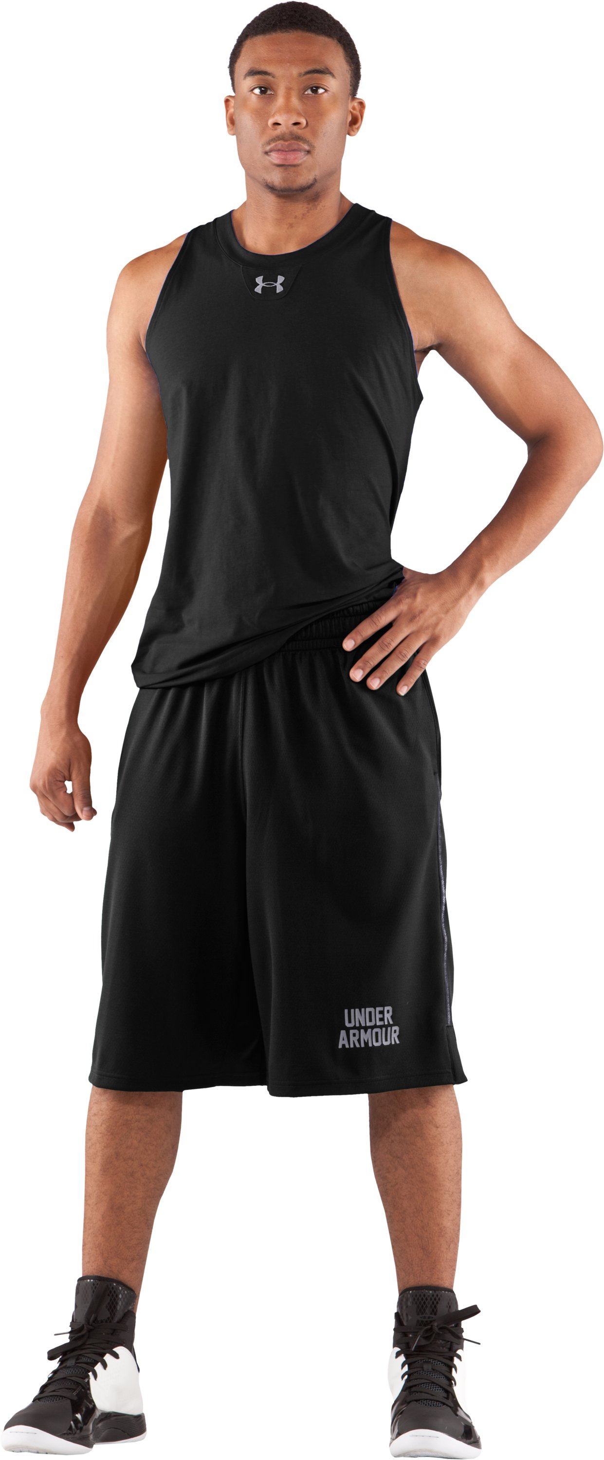 "Men's UA Uncanny Game 12"" Basketball Shorts, Black , Front"