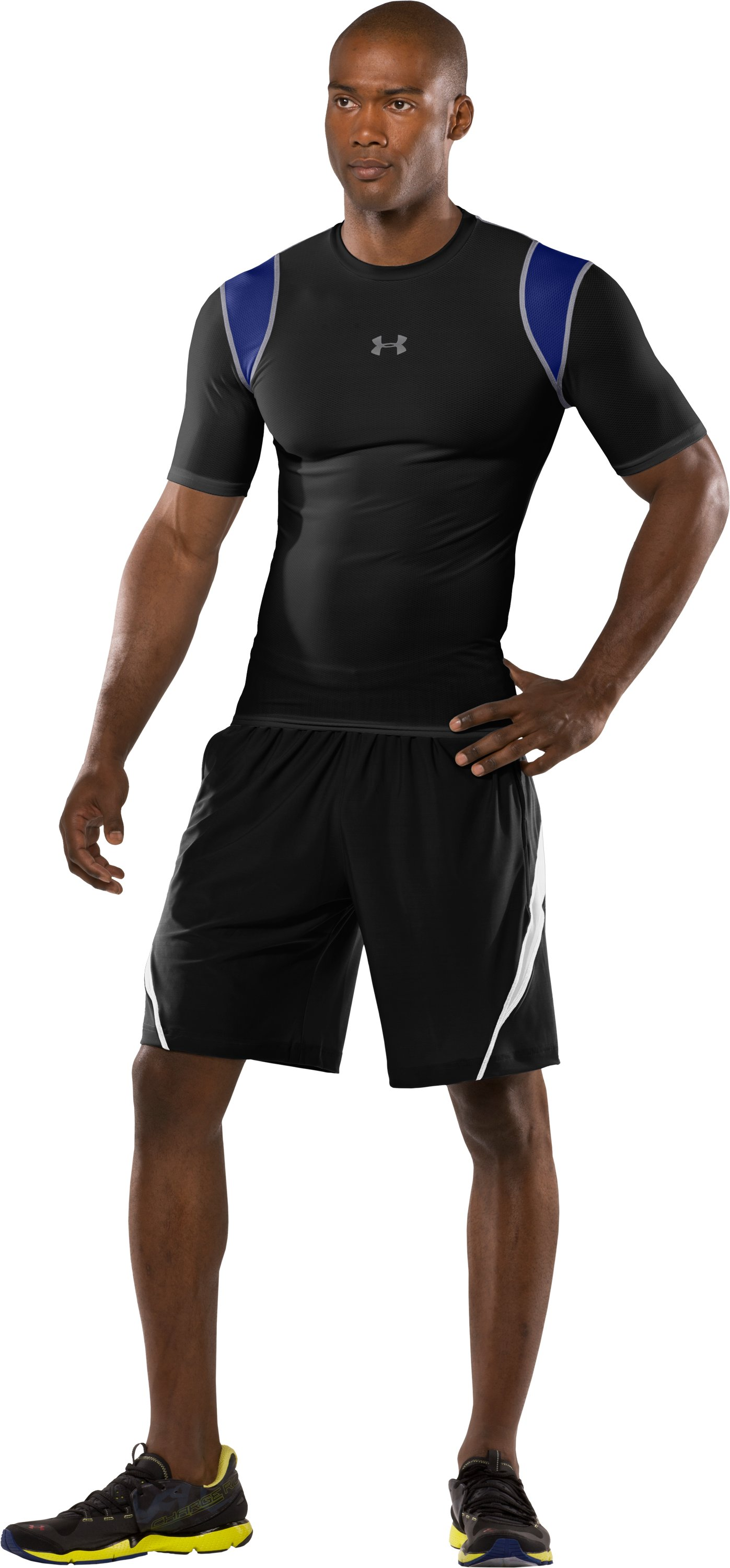 Men's HeatGear® Vented Compression Short Sleeve T-Shirt, Black , zoomed image