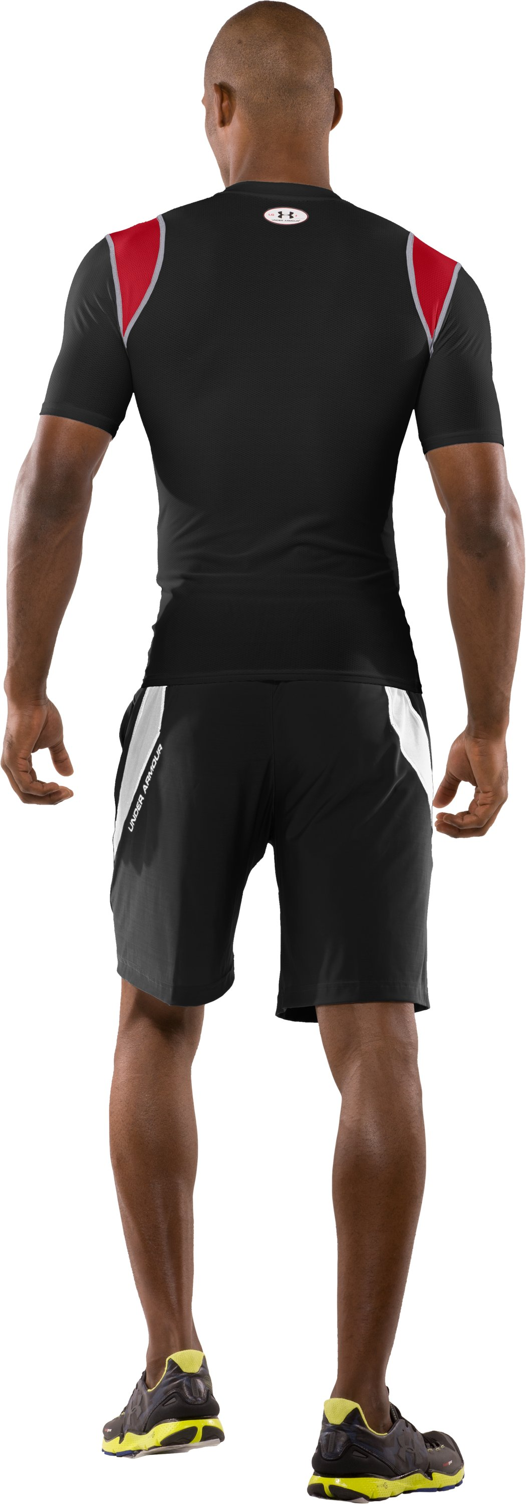 Men's HeatGear® Vented Compression Short Sleeve T-Shirt, Black , Back