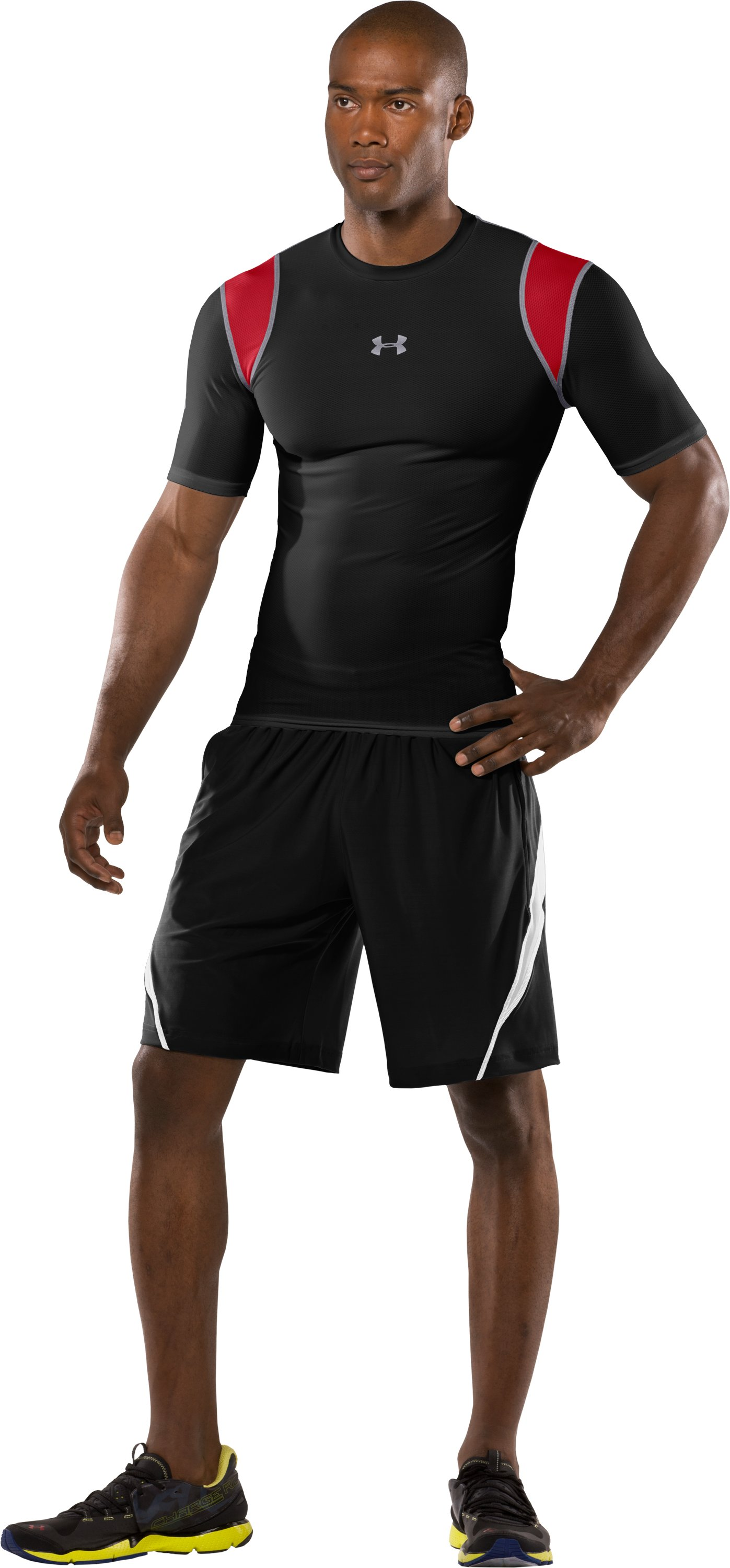 Men's HeatGear® Vented Compression Short Sleeve T-Shirt, Black , Front