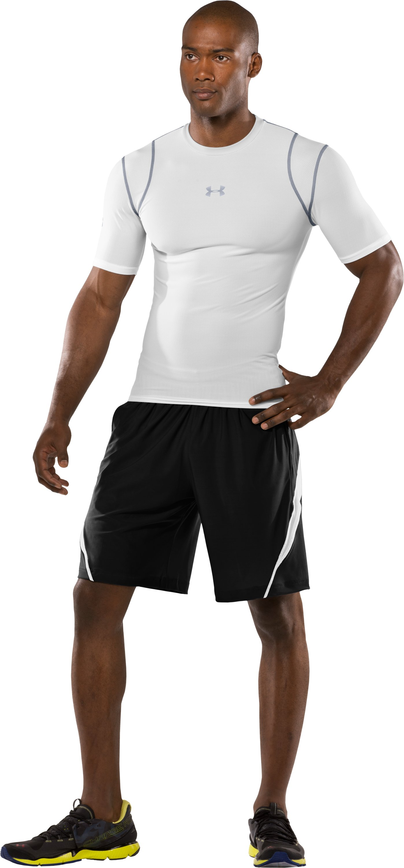 Men's HeatGear® Vented Compression Short Sleeve T-Shirt, White, Front