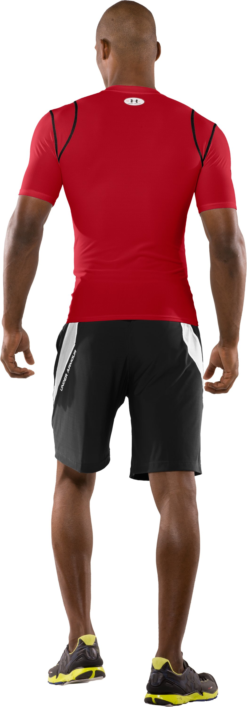 Men's HeatGear® Vented Compression Short Sleeve T-Shirt, Red, Back