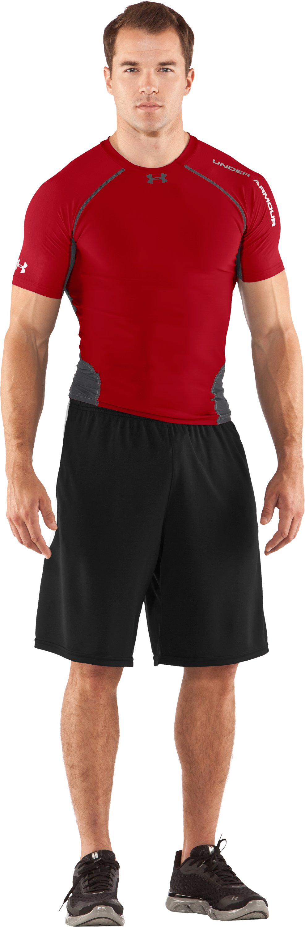 Men's HeatGear® Stretch Woven Short Sleeve, Red, Front