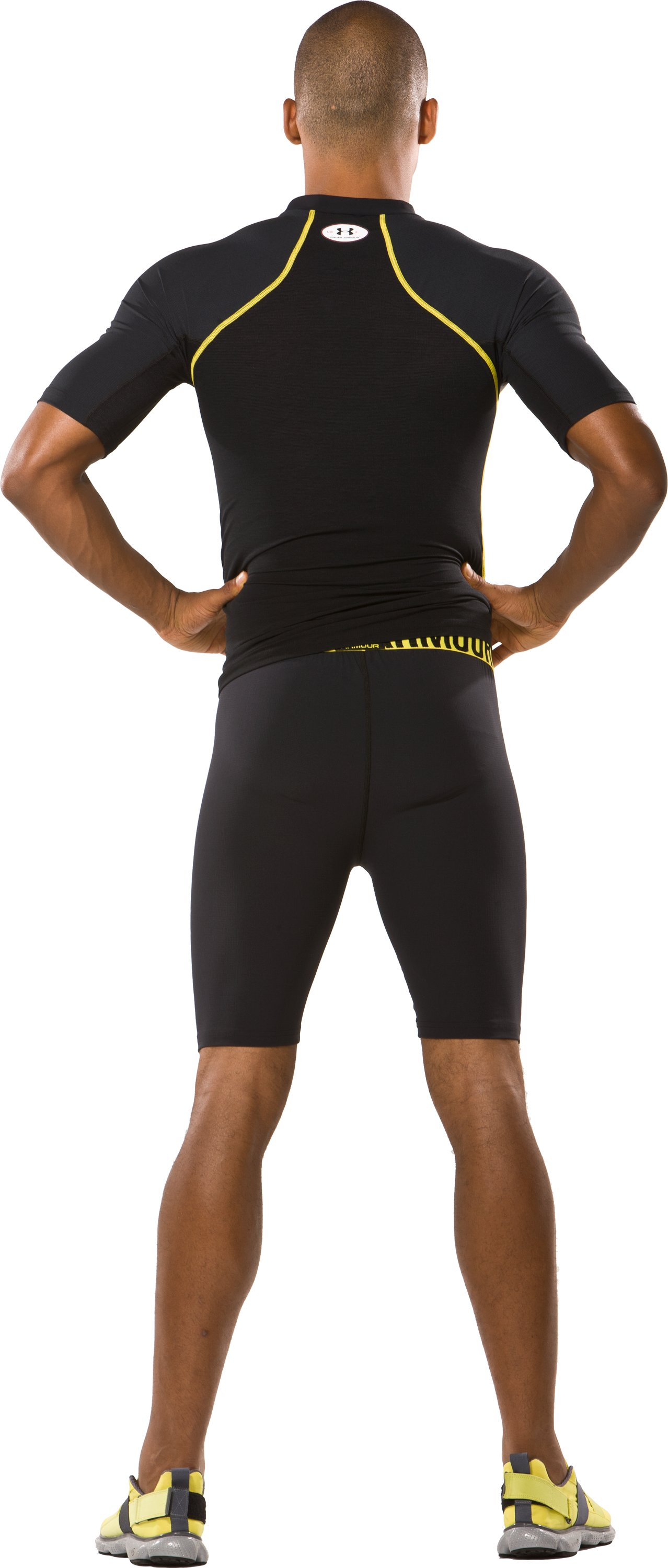 "Men's HeatGear® Stretch Woven 9"" Compression Short, Black , Back"