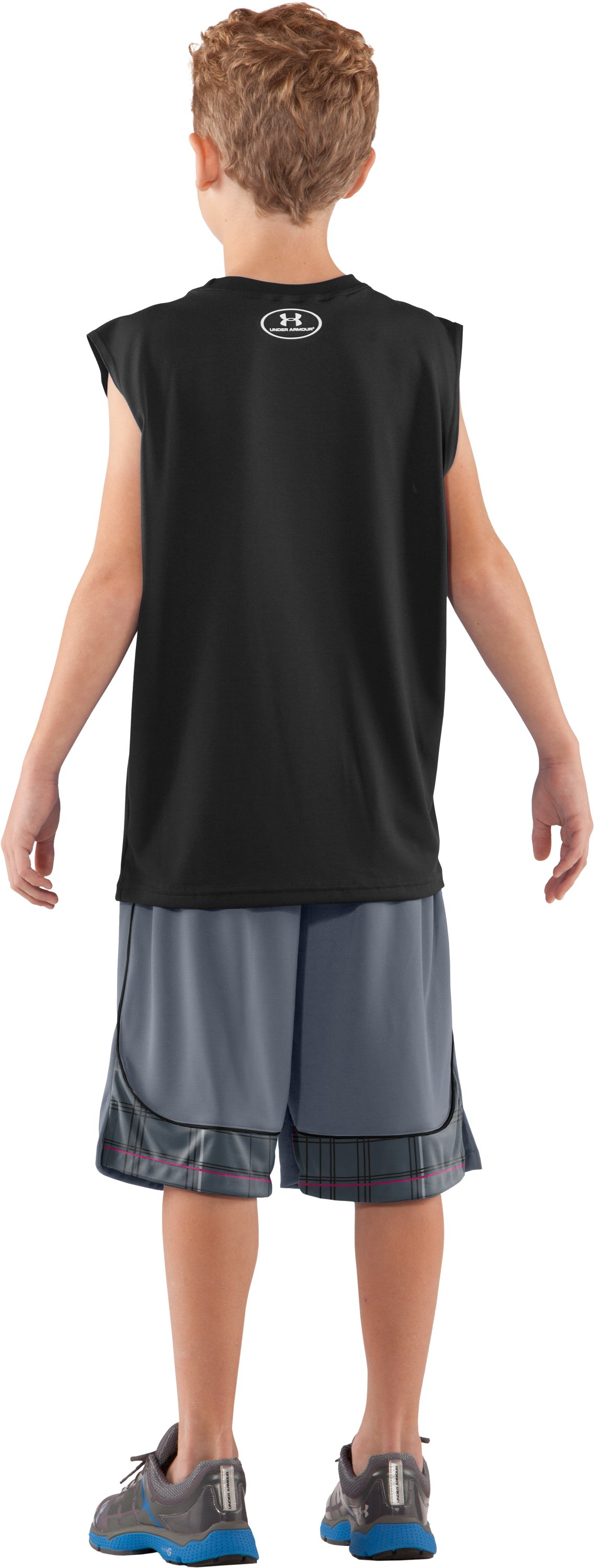 Boys' UA Tech™ Big Logo Sleeveless T-Shirt, Black , Back