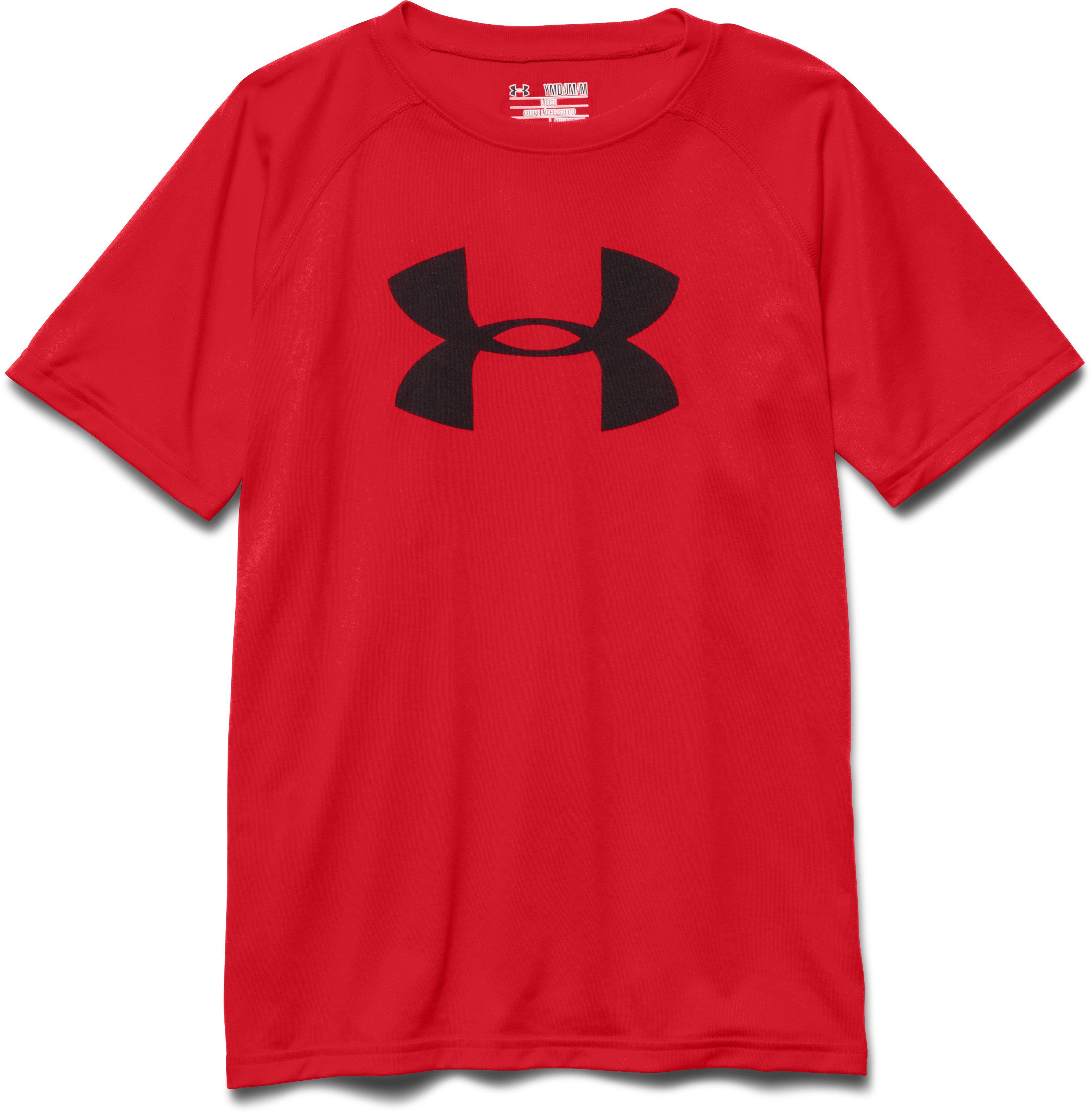 Boy's UA Tech™ Big Logo T-Shirt, RISK RED, Laydown