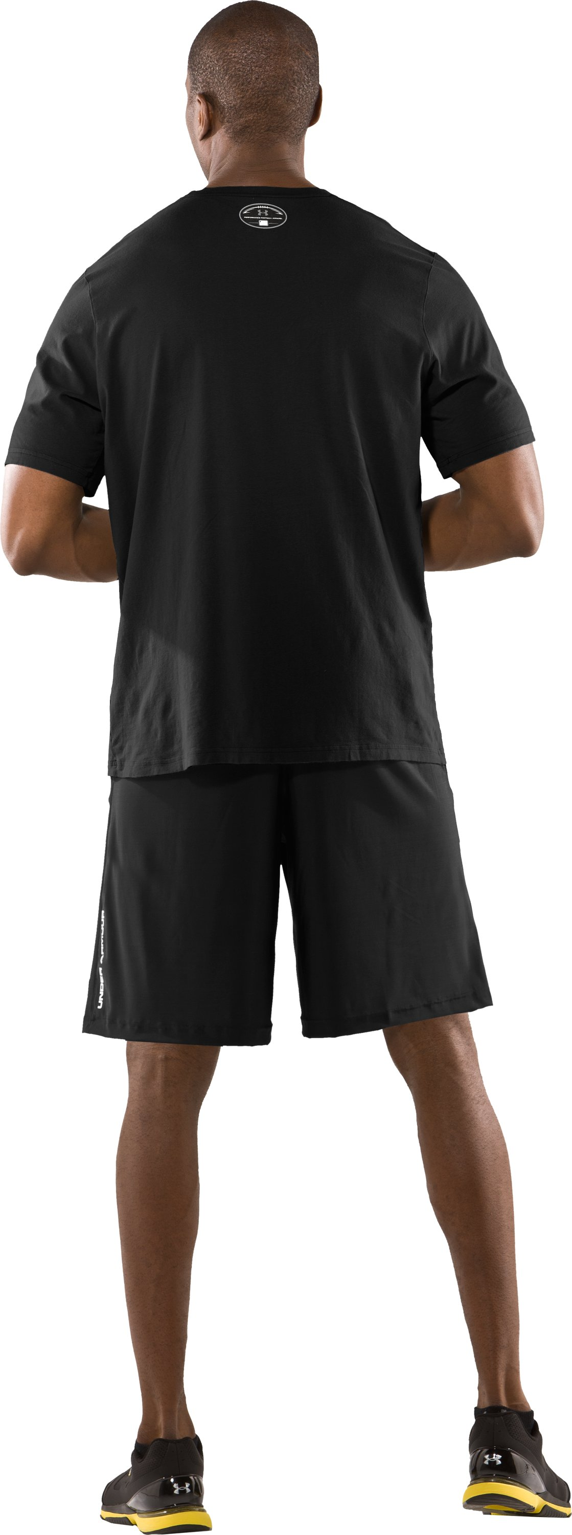 Men's UA Warp Short Sleeve Graphic T-Shirt, Black , Back