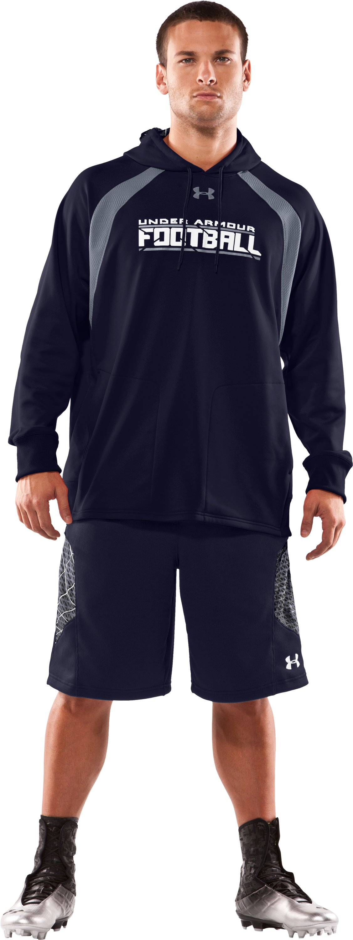 Men's UA Warp Hoodie, Midnight Navy, Front