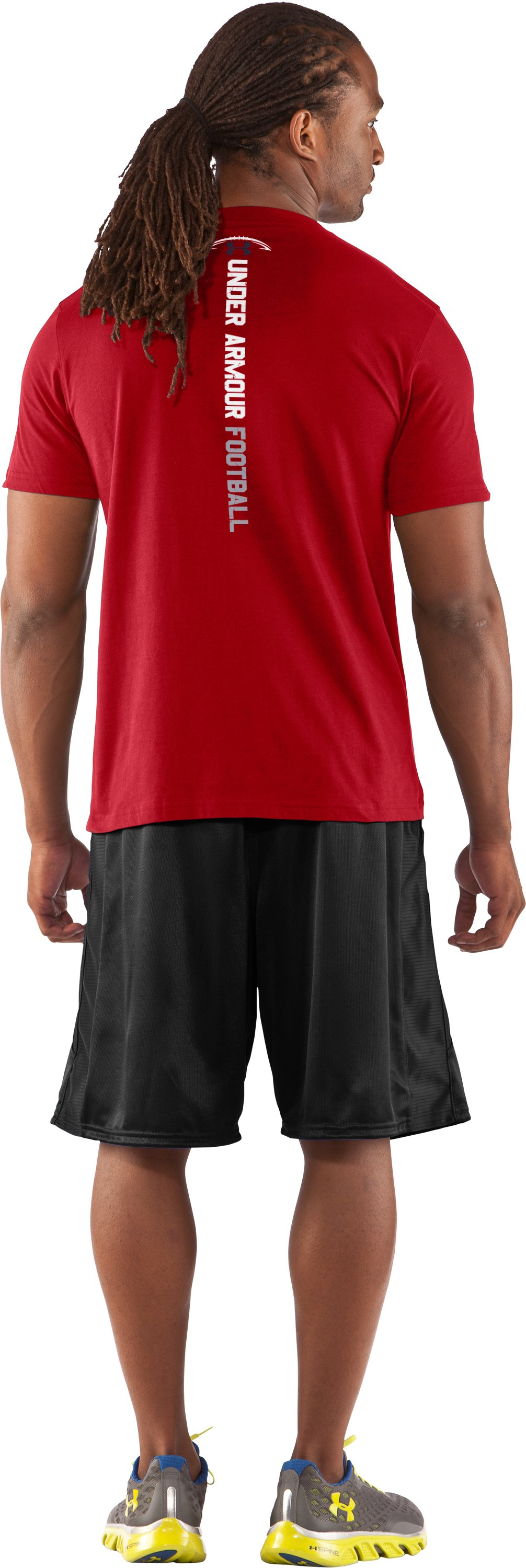Men's UA Football Hard Hits T-Shirt, Red, Back