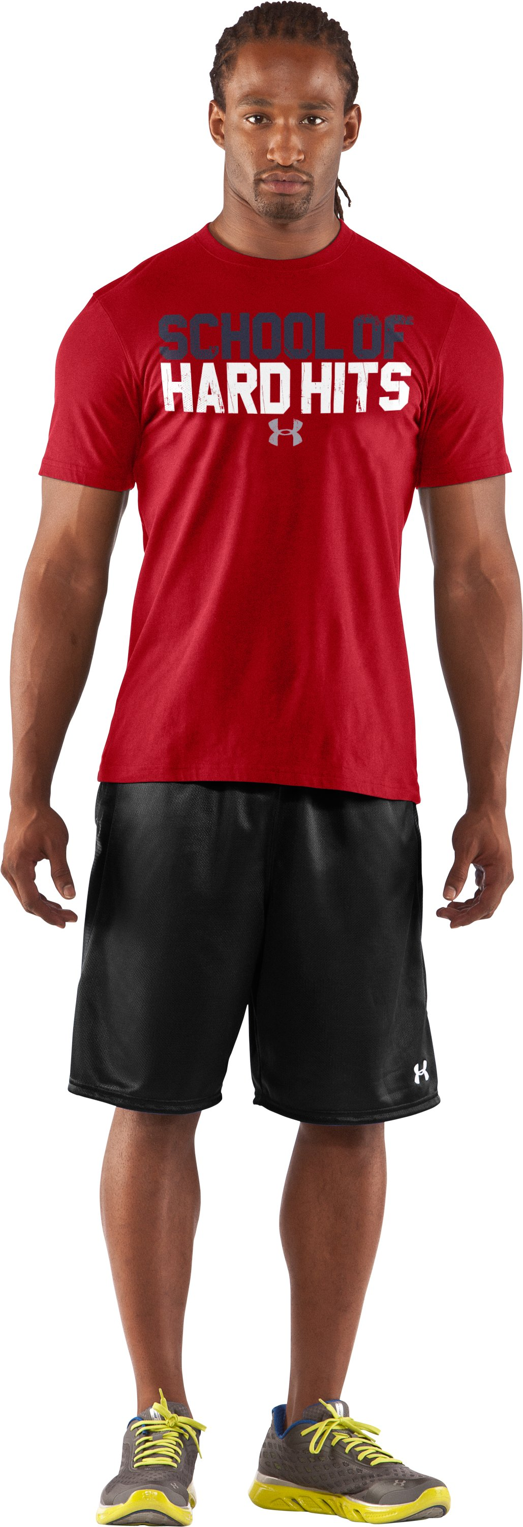 Men's UA Football Hard Hits T-Shirt, Red, zoomed image