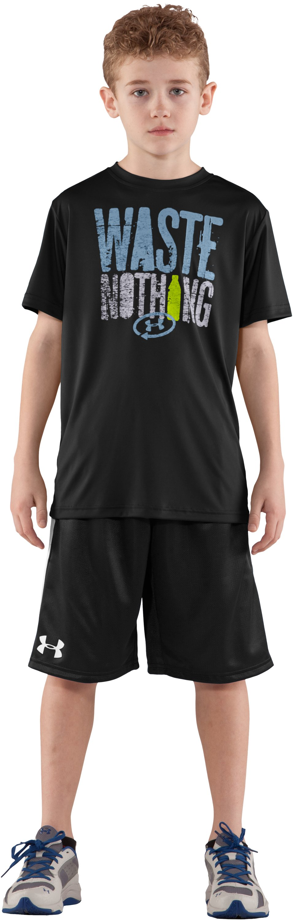 Boys' UA Catalyst Waste Nothing T-Shirt, Black , Front