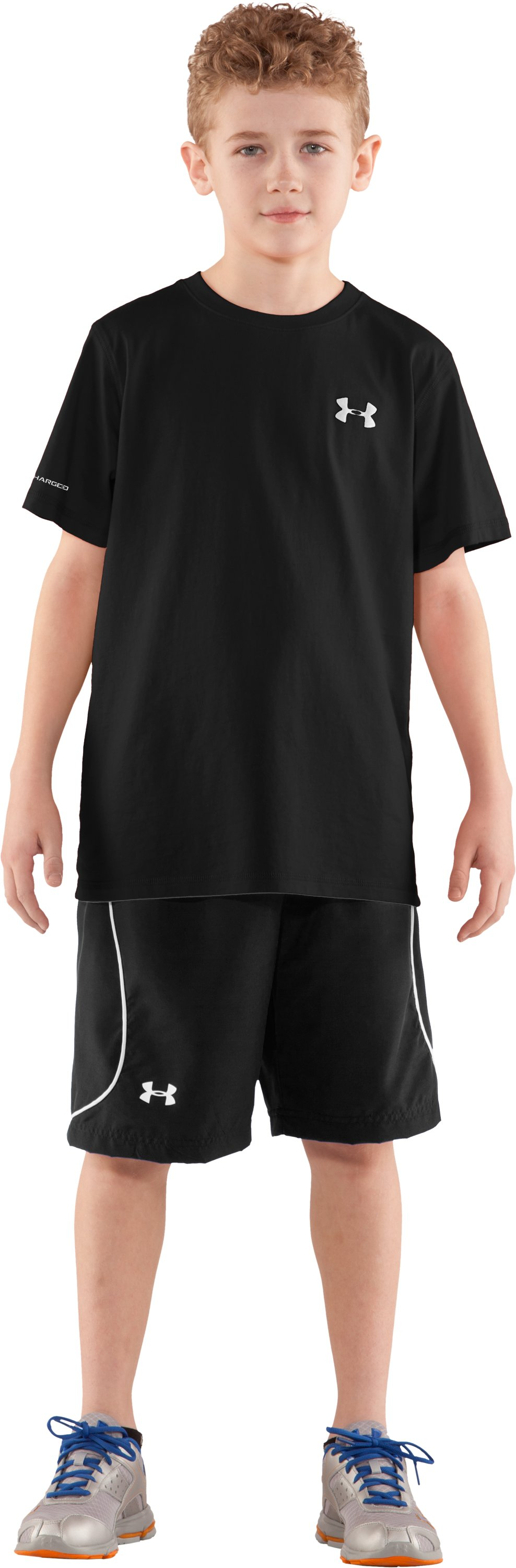 Boys' UA Charged Cotton® Short Sleeve T-Shirt, Black , Front