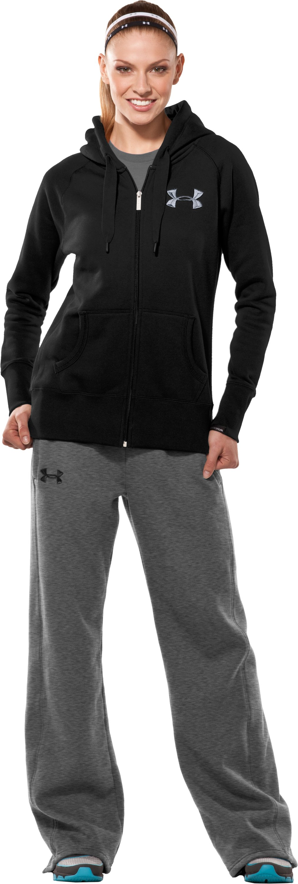Women's UA Charged Cotton® Storm Fleece Full Zip Hoodie, Black , Front