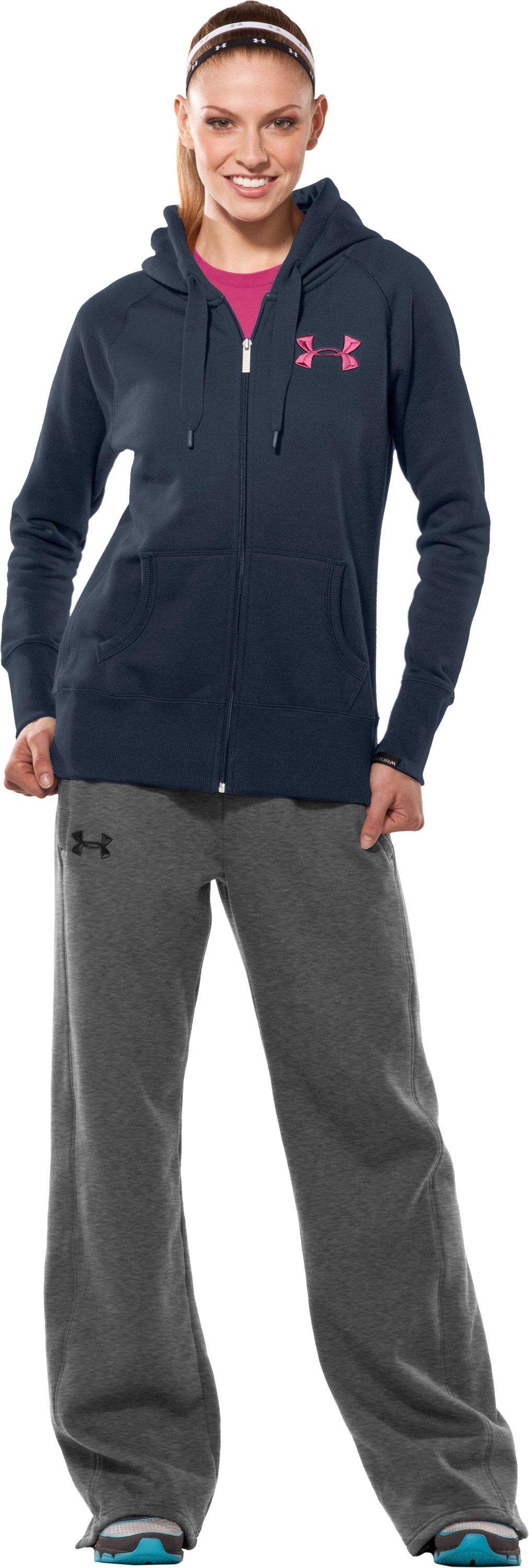 Women's UA Charged Cotton® Storm Fleece Full Zip Hoodie, Wire, zoomed image