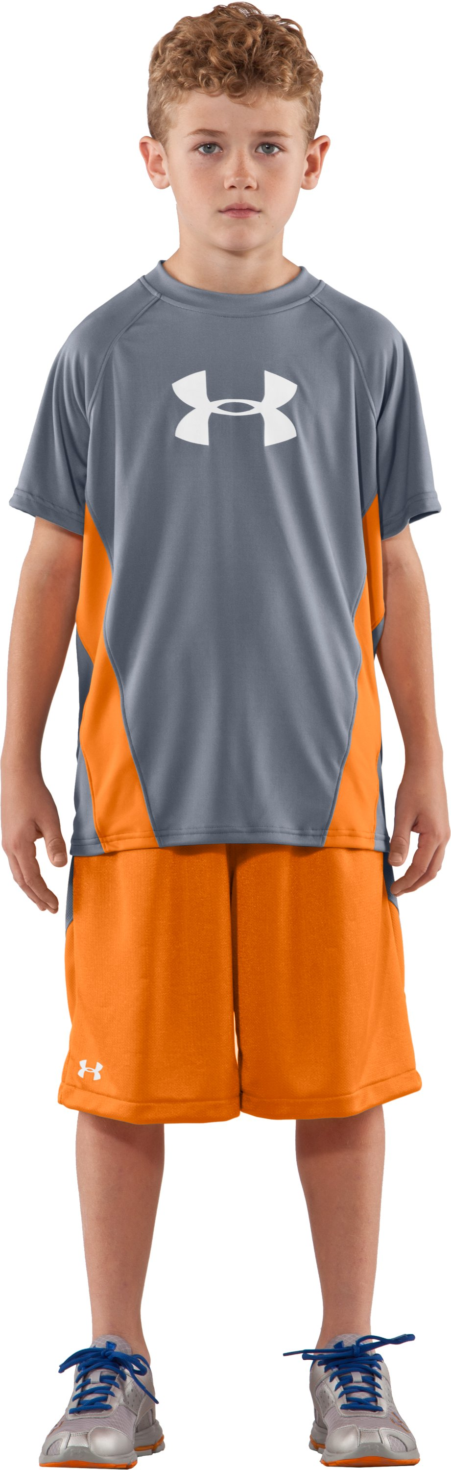 Boys' UA Show Me Sweat Short Sleeve T-Shirt, Steel, Front