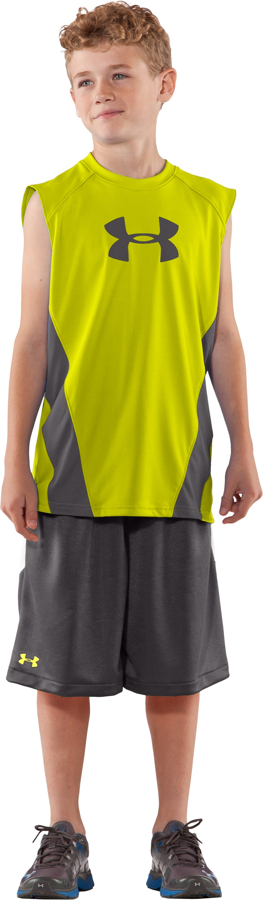 Boys' UA Show Me Sweat Sleeveless T-Shirt, High-Vis Yellow, zoomed image
