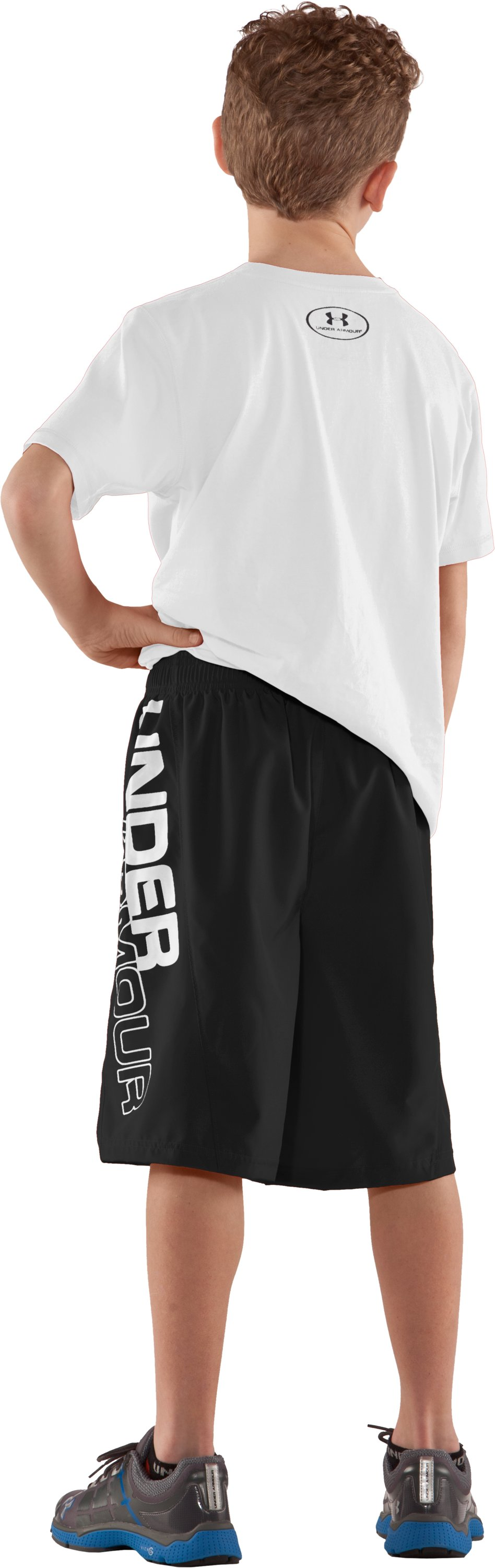 Boys' UA Criddler Woven Shorts, Black , Back