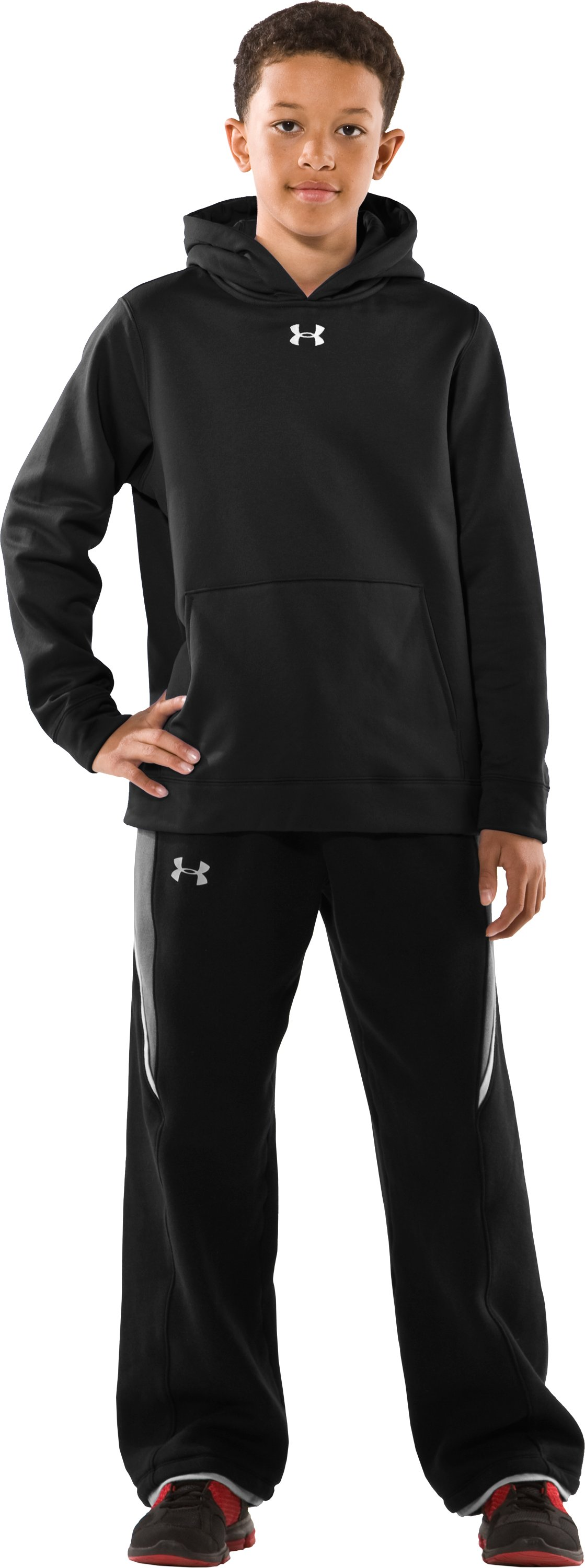 Boys' Armour® Fleece Performance Hoodie, Black , Front