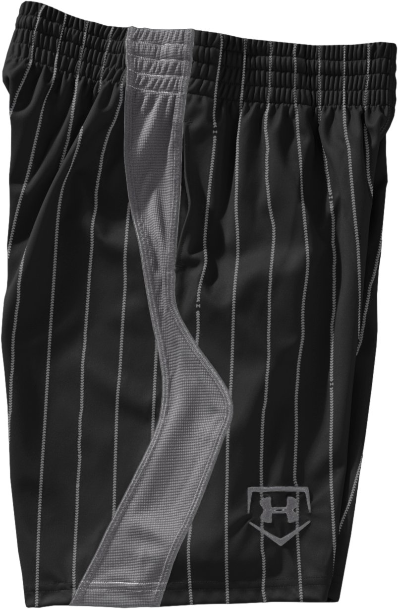 Boys' UA CTG Pinstripe Baseball Shorts, Black , Laydown