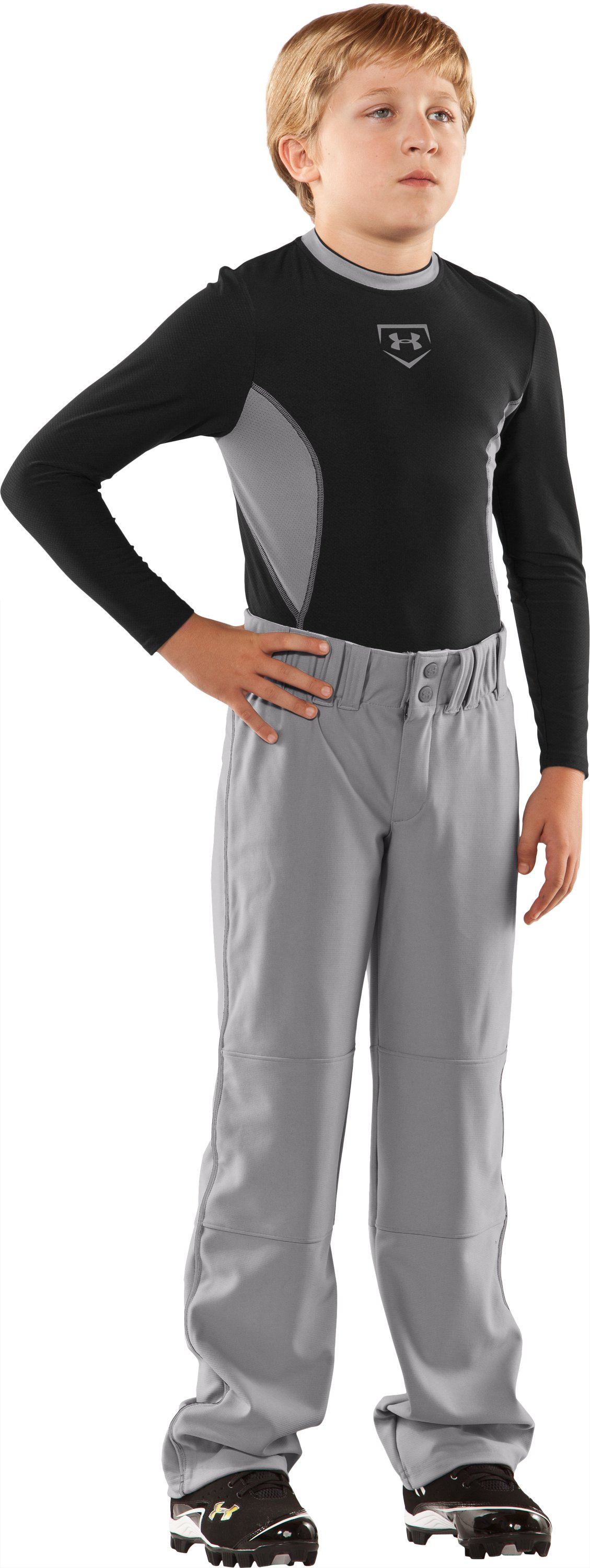 Boys' UA Lead Off Baseball Pants, Baseball Gray, Front