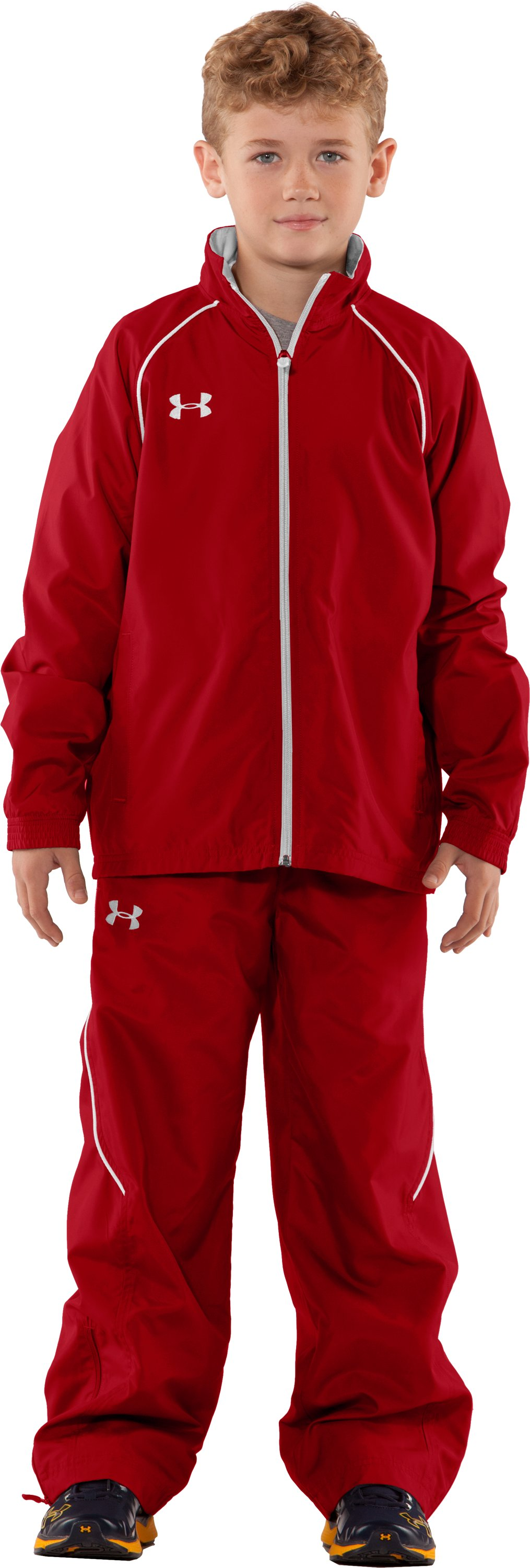 Boys' Advance Woven Warm-Up Jacket, Red, Front